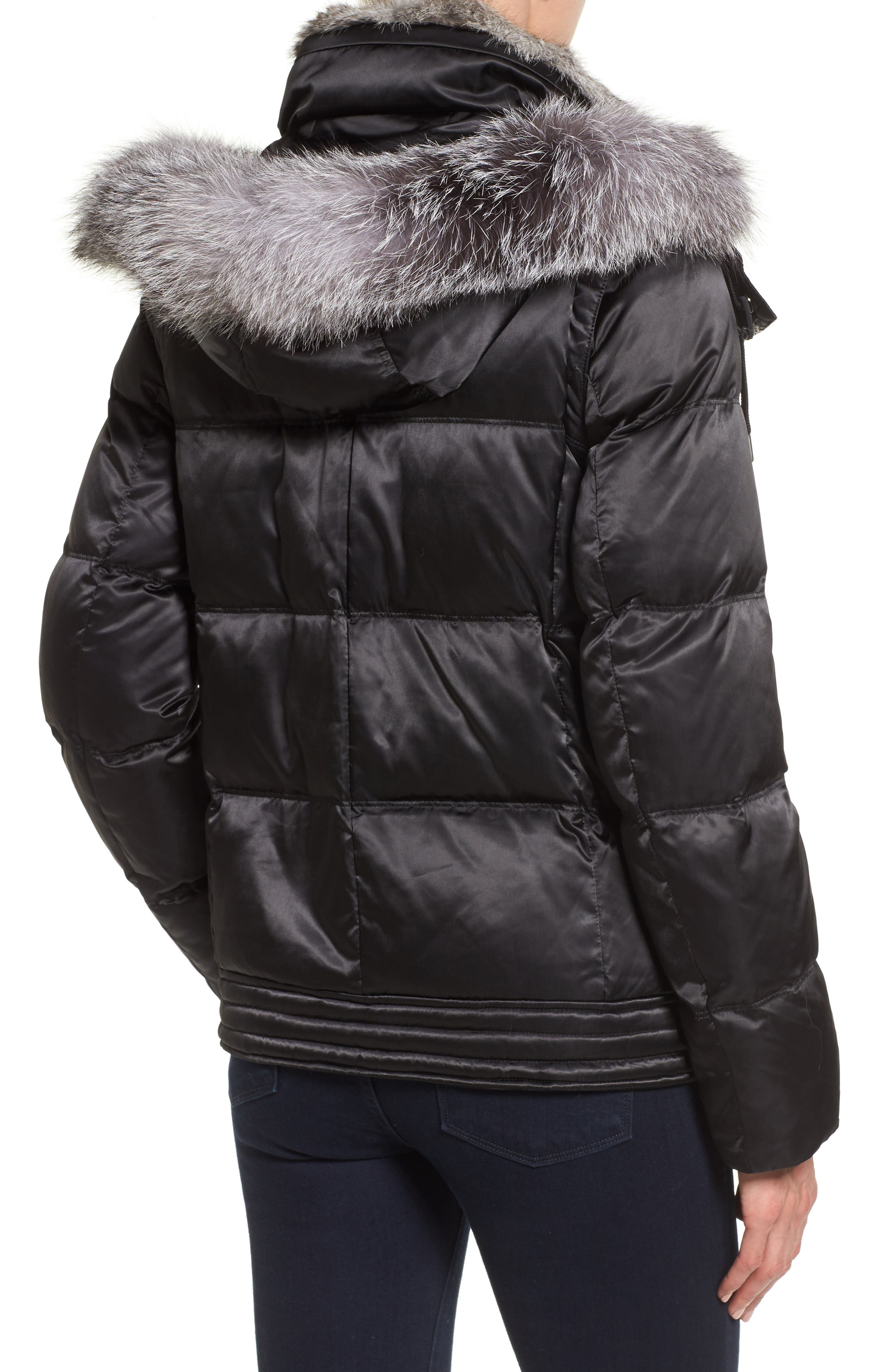 Convertible Down Coat with Genuine Rabbit Fur & Genuine Fox Fur,                             Alternate thumbnail 2, color,                             001