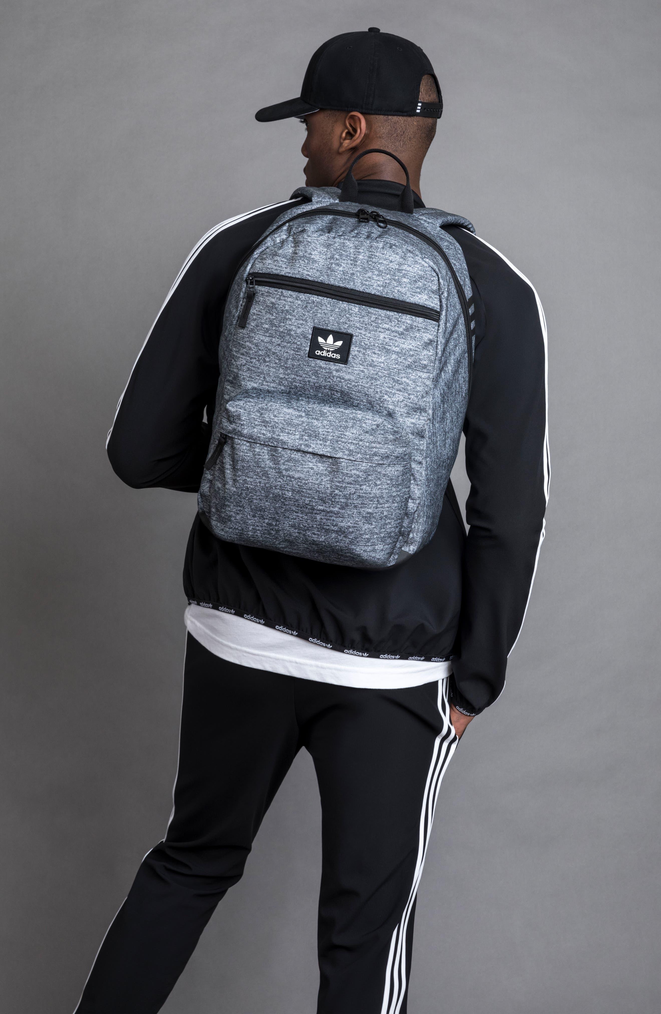 adidas Original National Backpack,                             Alternate thumbnail 7, color,                             ONYX JERSEY/ BLACK