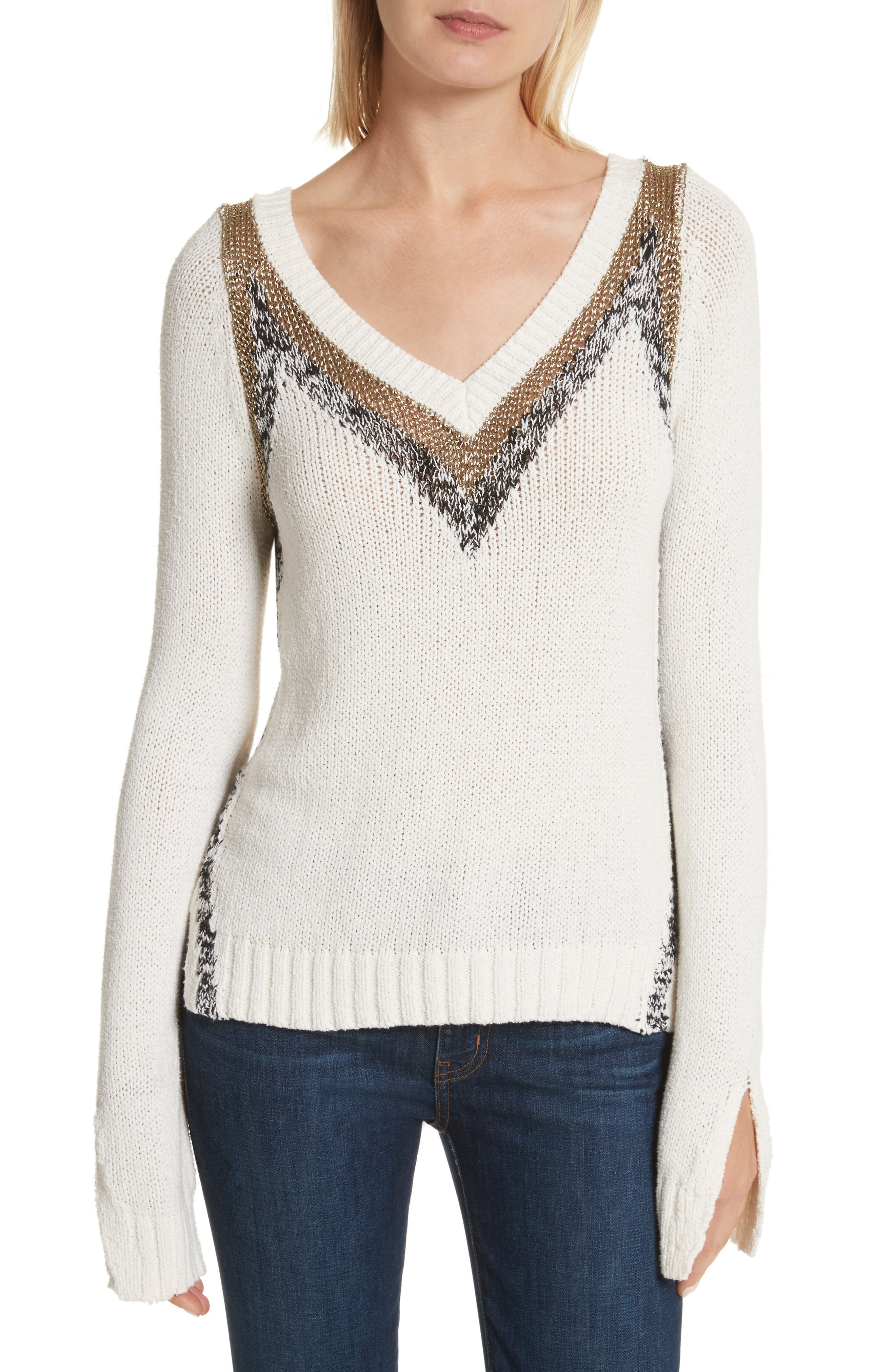 V-Neck Stripe Pullover,                             Main thumbnail 1, color,                             900
