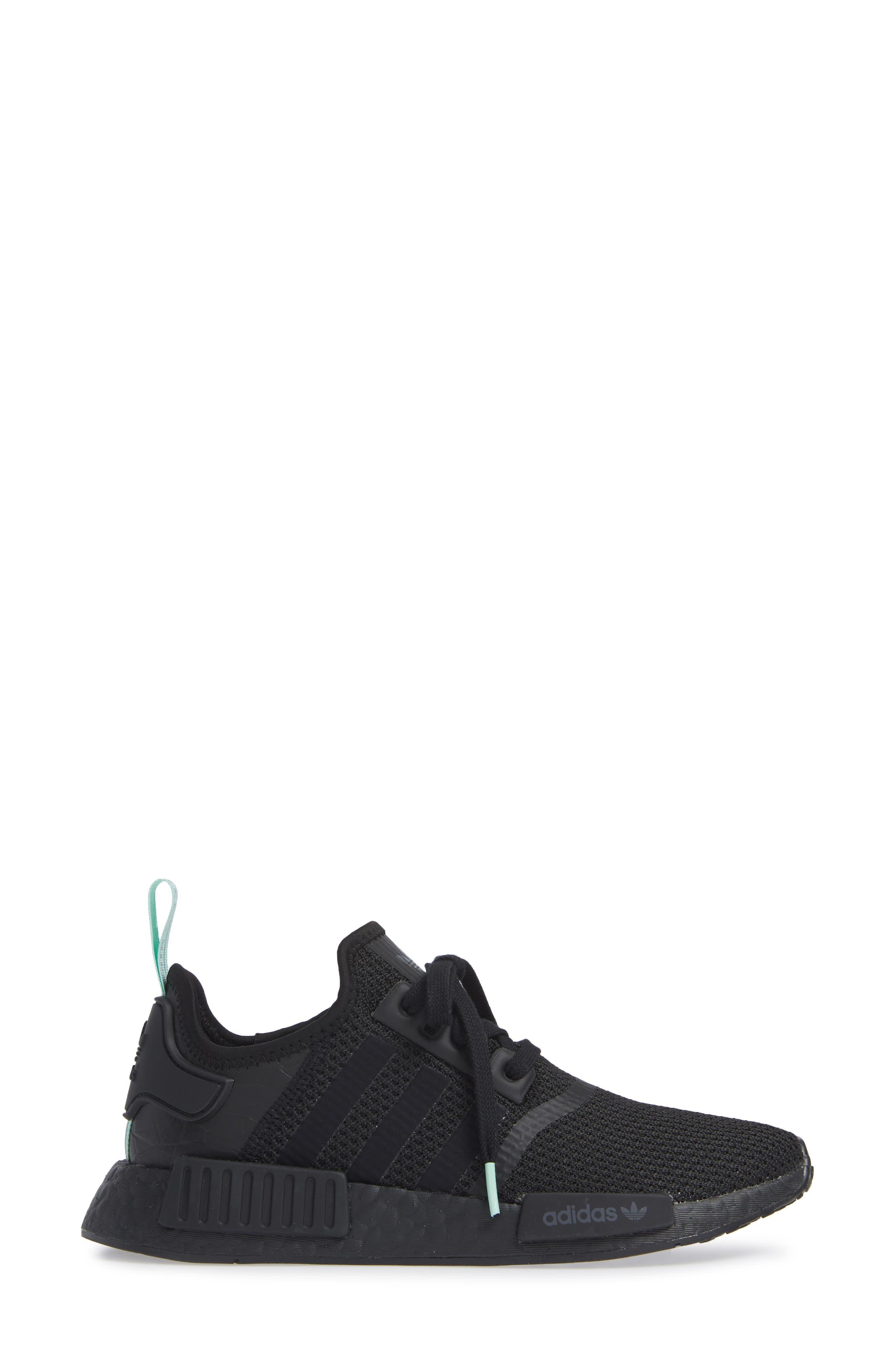 NMD R1 Athletic Shoe,                             Alternate thumbnail 3, color,                             BLACK/ BLACK/ CLEAR MINT