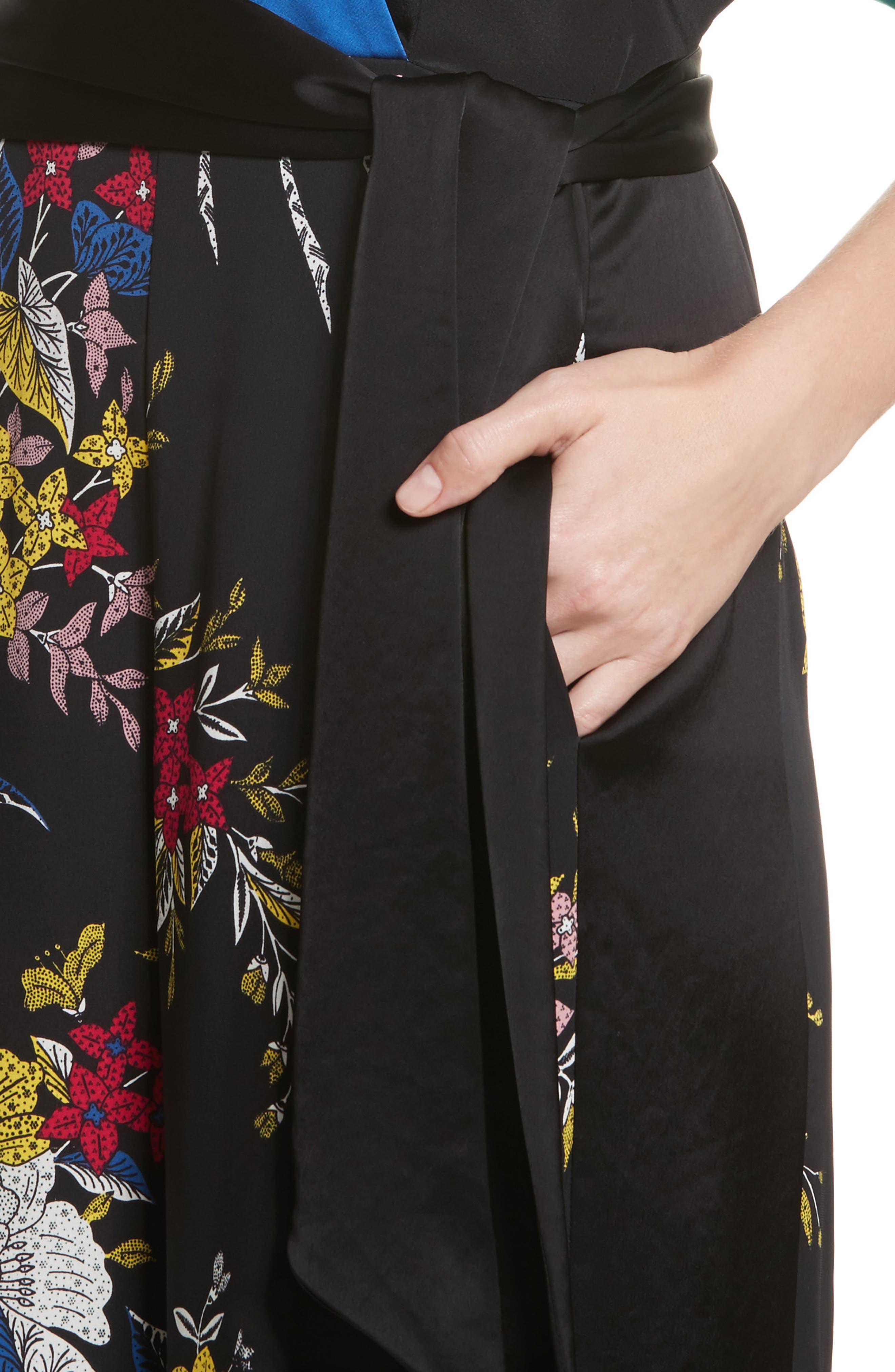 Diane von Furstenberg Faux Wrap Colorblock Silk Jumpsuit,                             Alternate thumbnail 4, color,