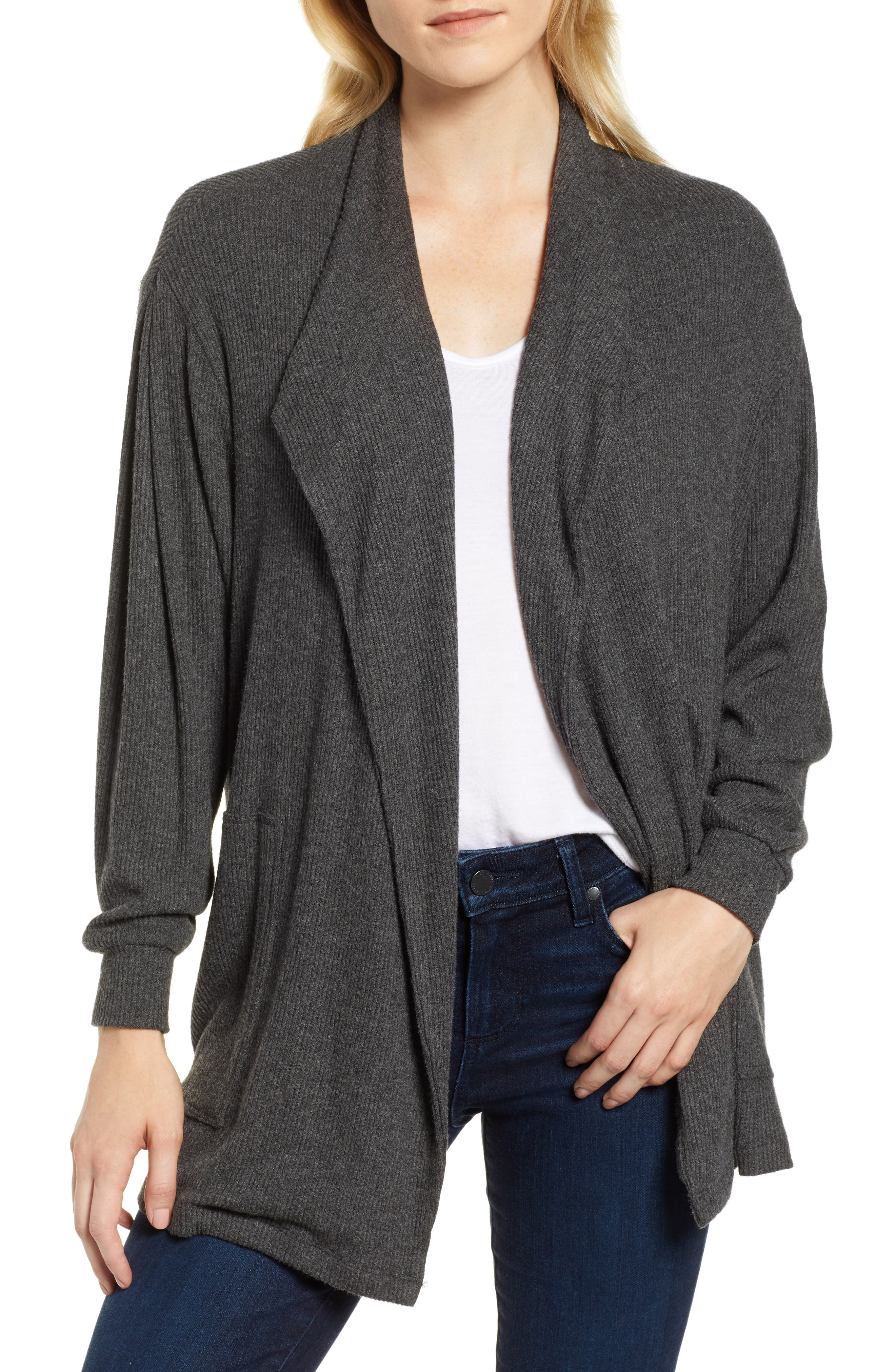 Cozy Rib Open Front Cardigan,                             Main thumbnail 1, color,                             ANTHRACITE