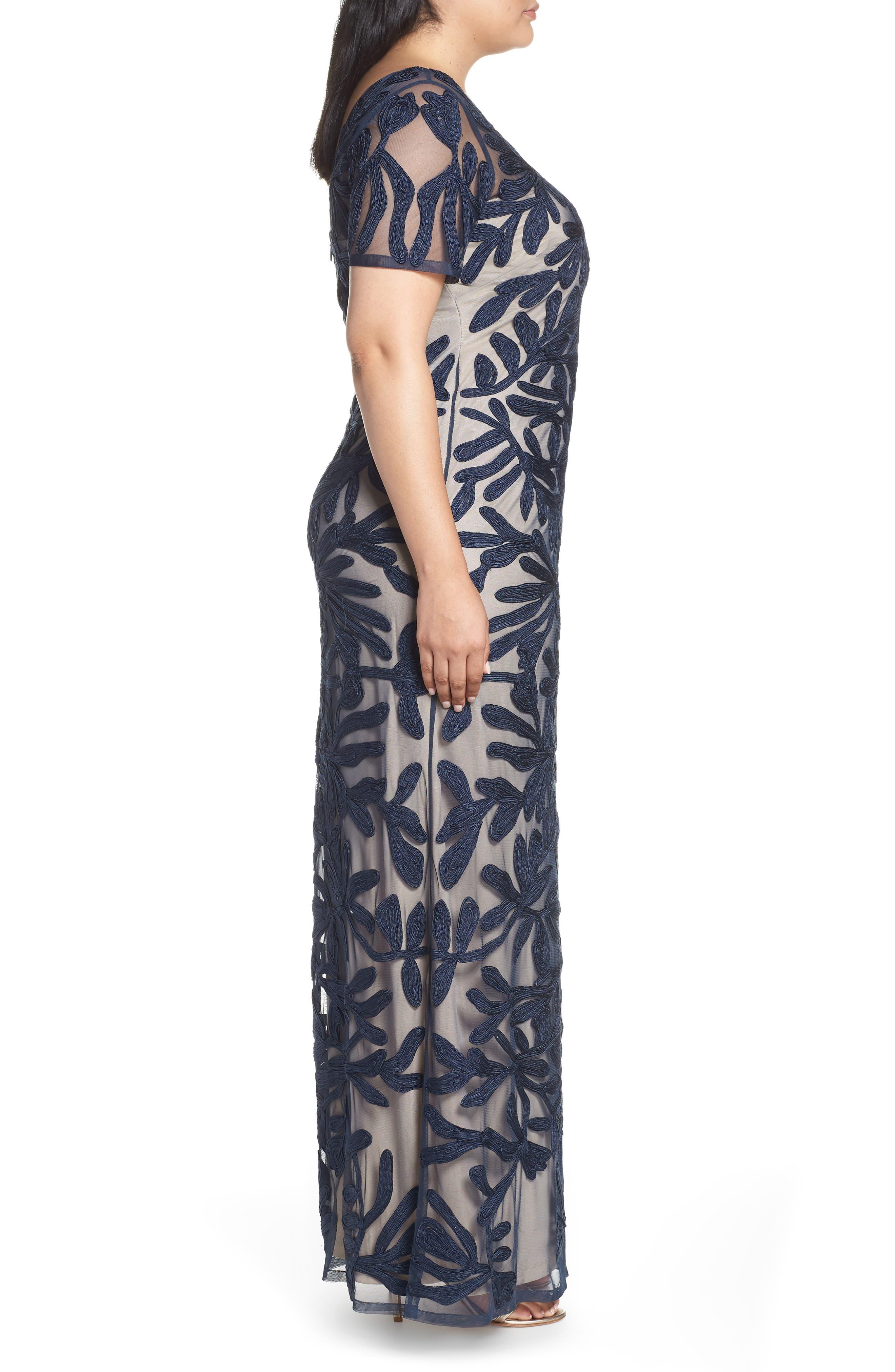 JS COLLECTIONS,                             Illusion Soutache Evening Dress,                             Alternate thumbnail 3, color,                             NAVY/ NUDE