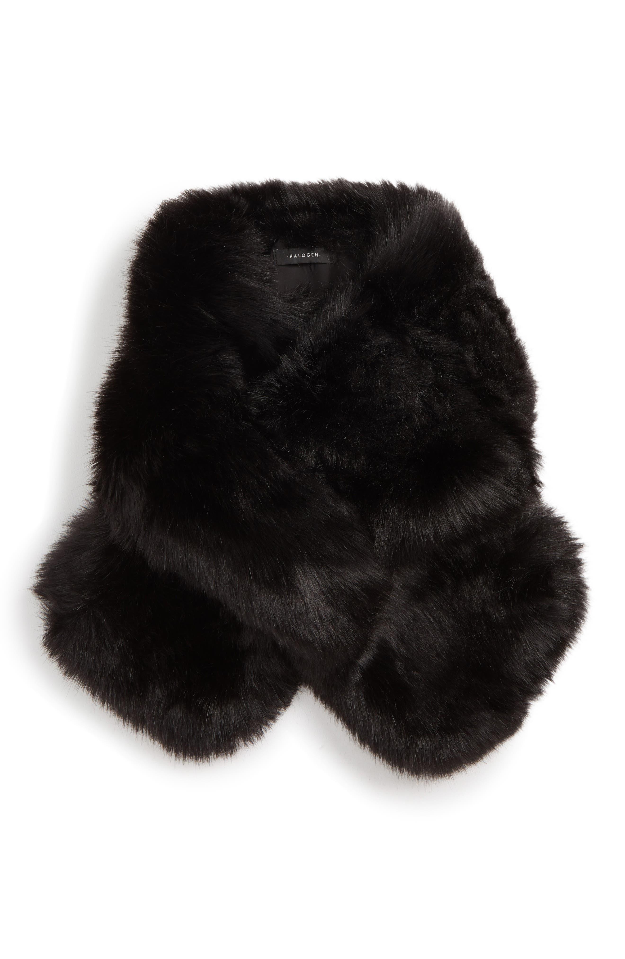 Faux Fur Scarf,                             Alternate thumbnail 2, color,                             BLACK