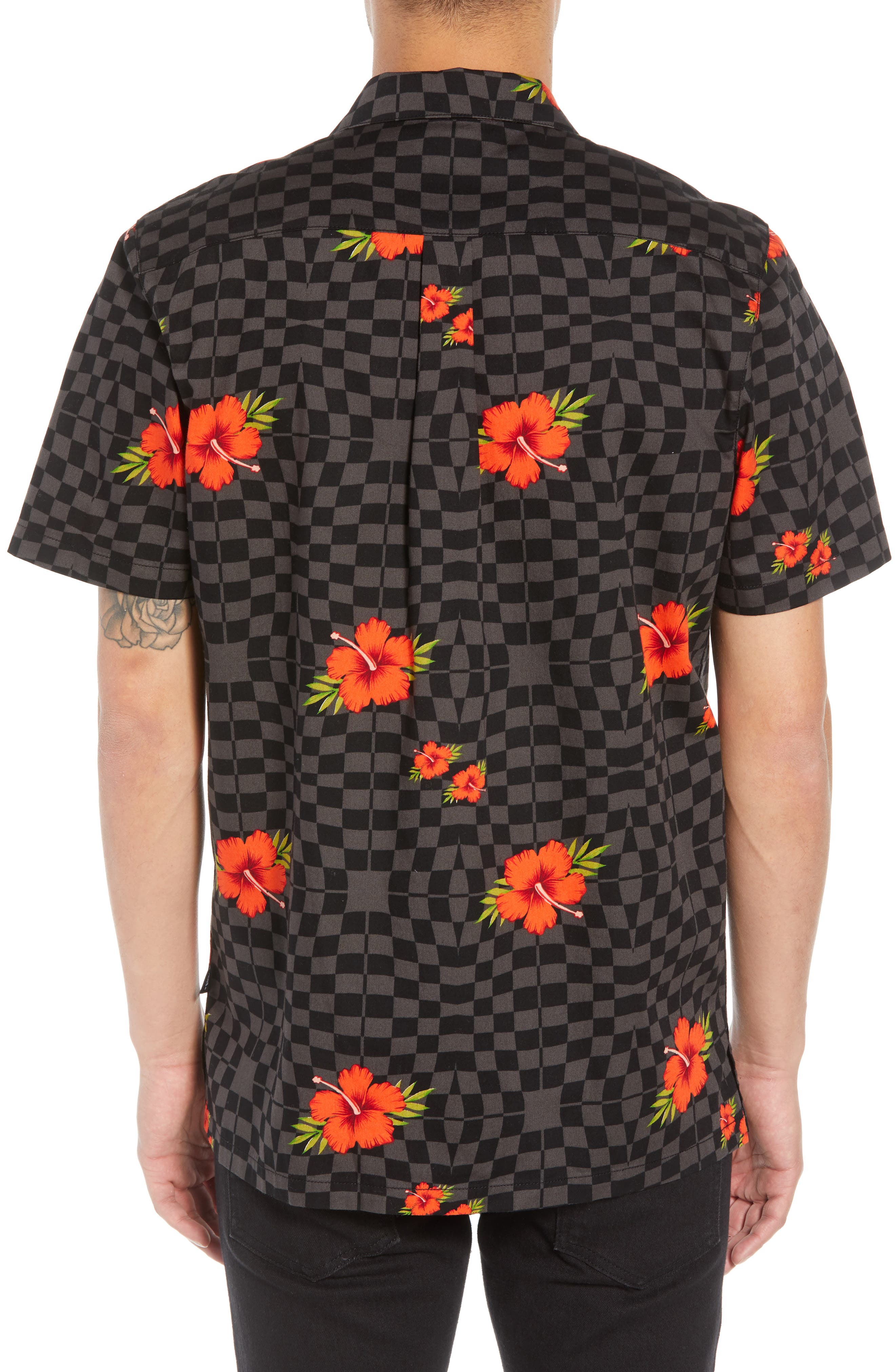 VANS,                             Warp Tropic Checks Camp Shirt,                             Alternate thumbnail 2, color,                             001