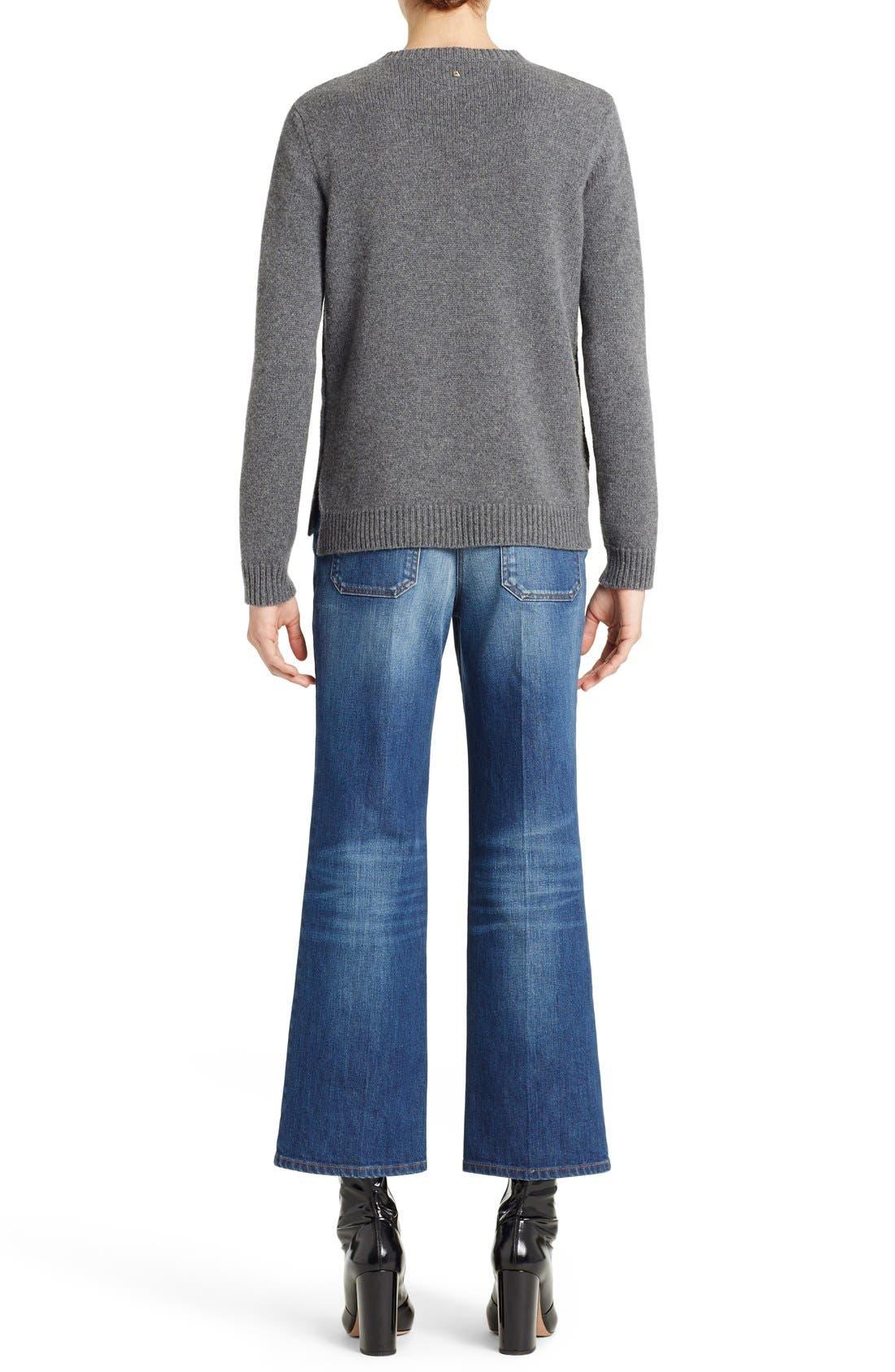 Studded Crewneck Cashmere Sweater,                             Alternate thumbnail 3, color,                             GREY