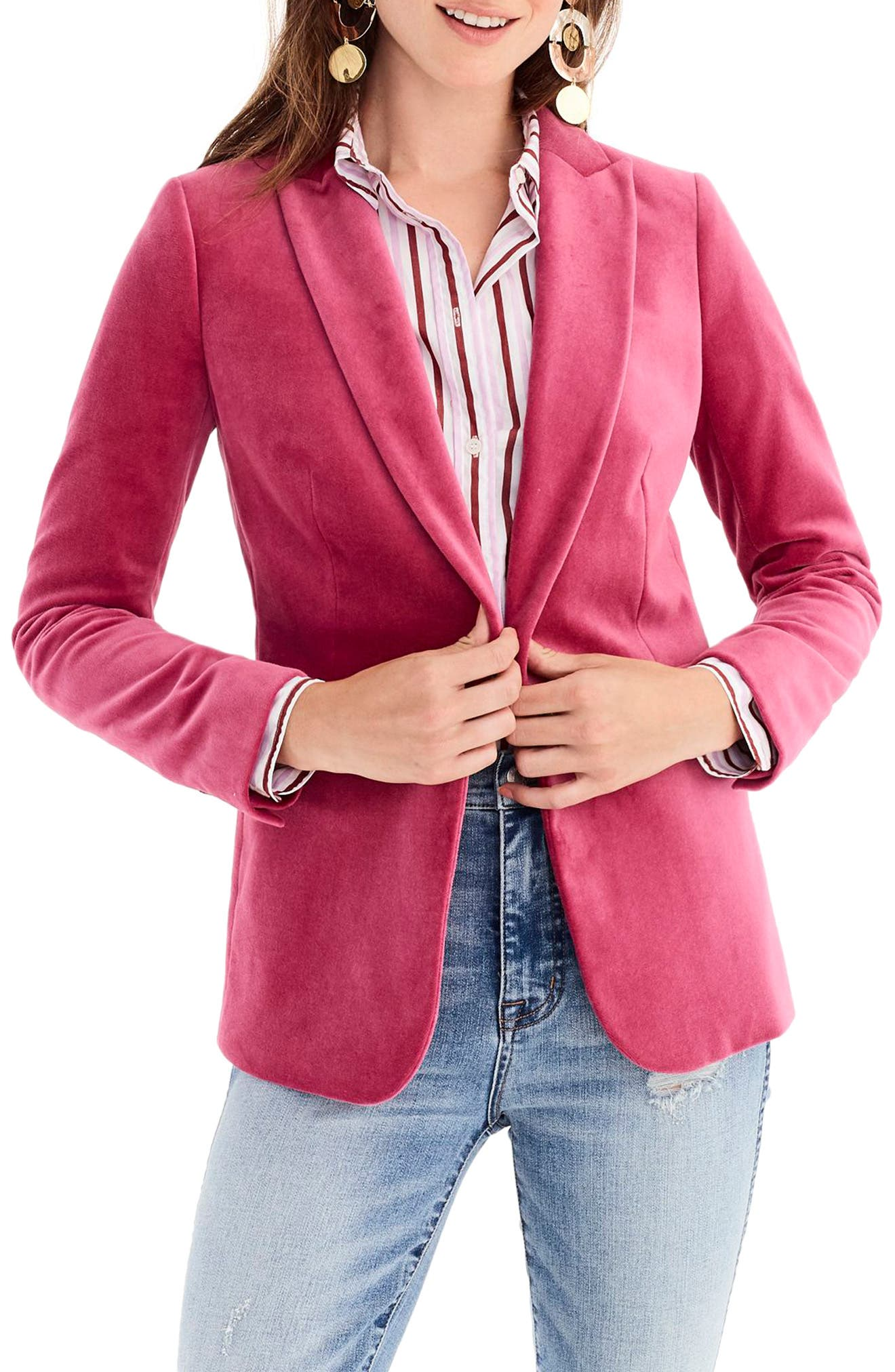 Parke Velvet Blazer,                             Main thumbnail 1, color,                             DRIED ROSE