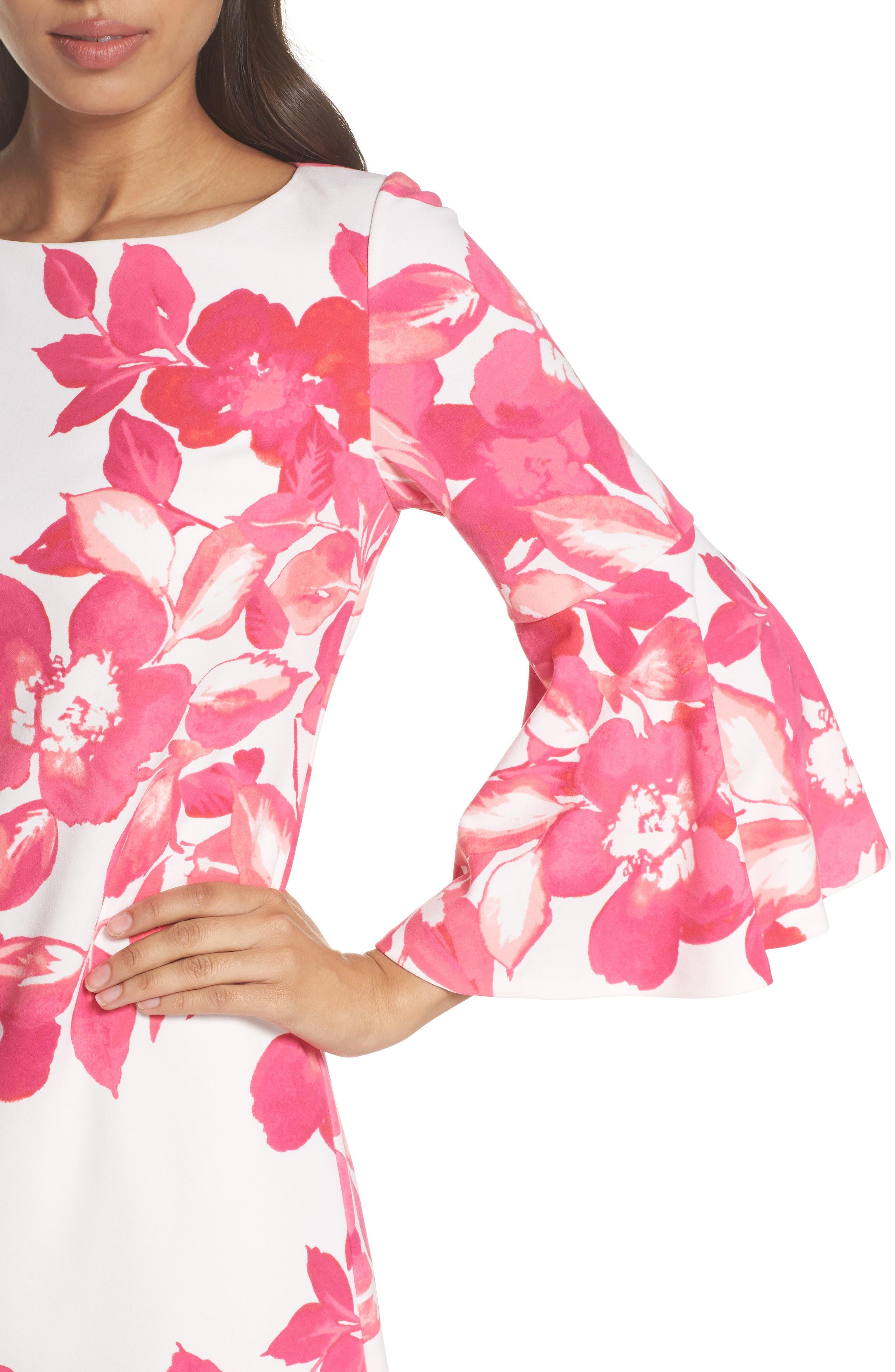 Floral Shift Dress,                             Alternate thumbnail 4, color,                             PINK