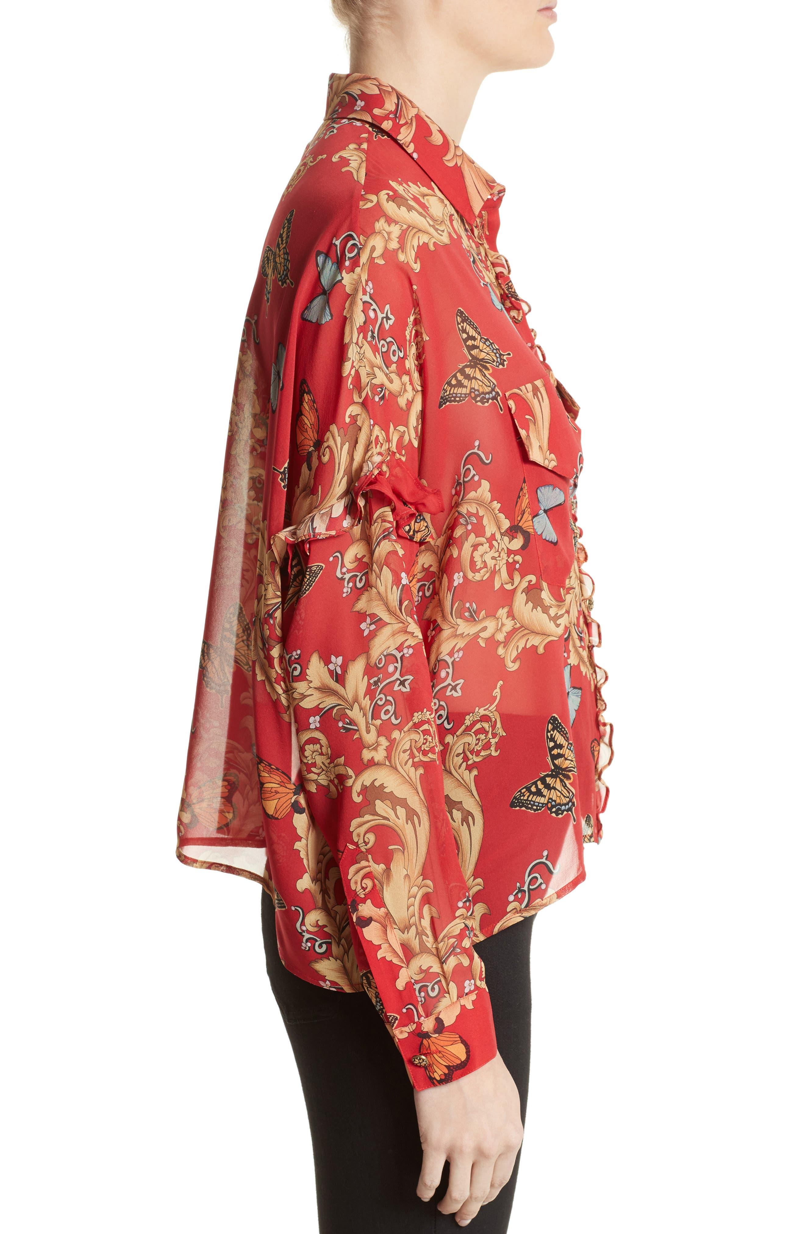 Print Ruffled Silk Shirt,                             Alternate thumbnail 3, color,                             600