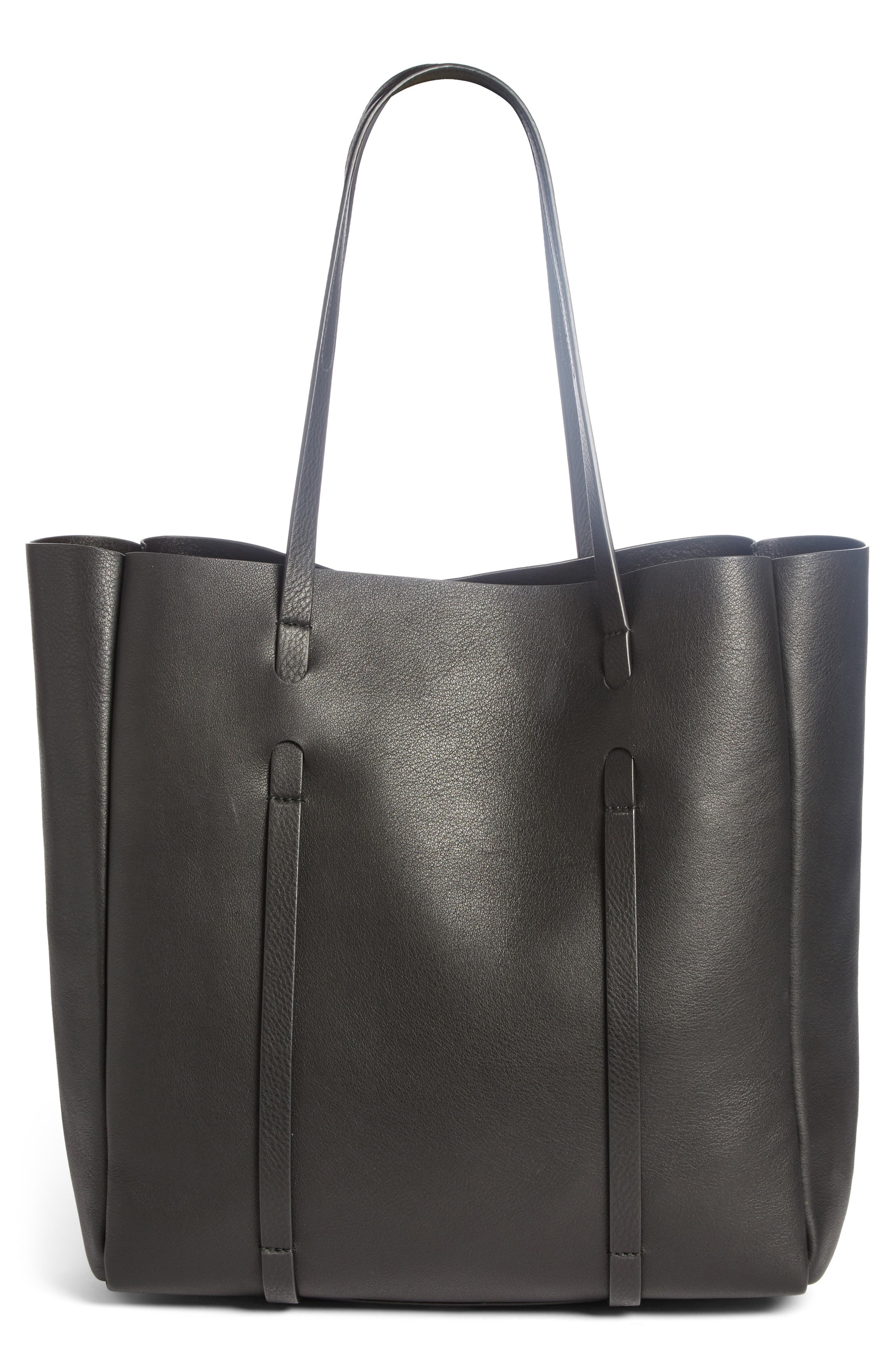 Small Everyday Logo Calfskin Tote,                             Alternate thumbnail 2, color,                             001