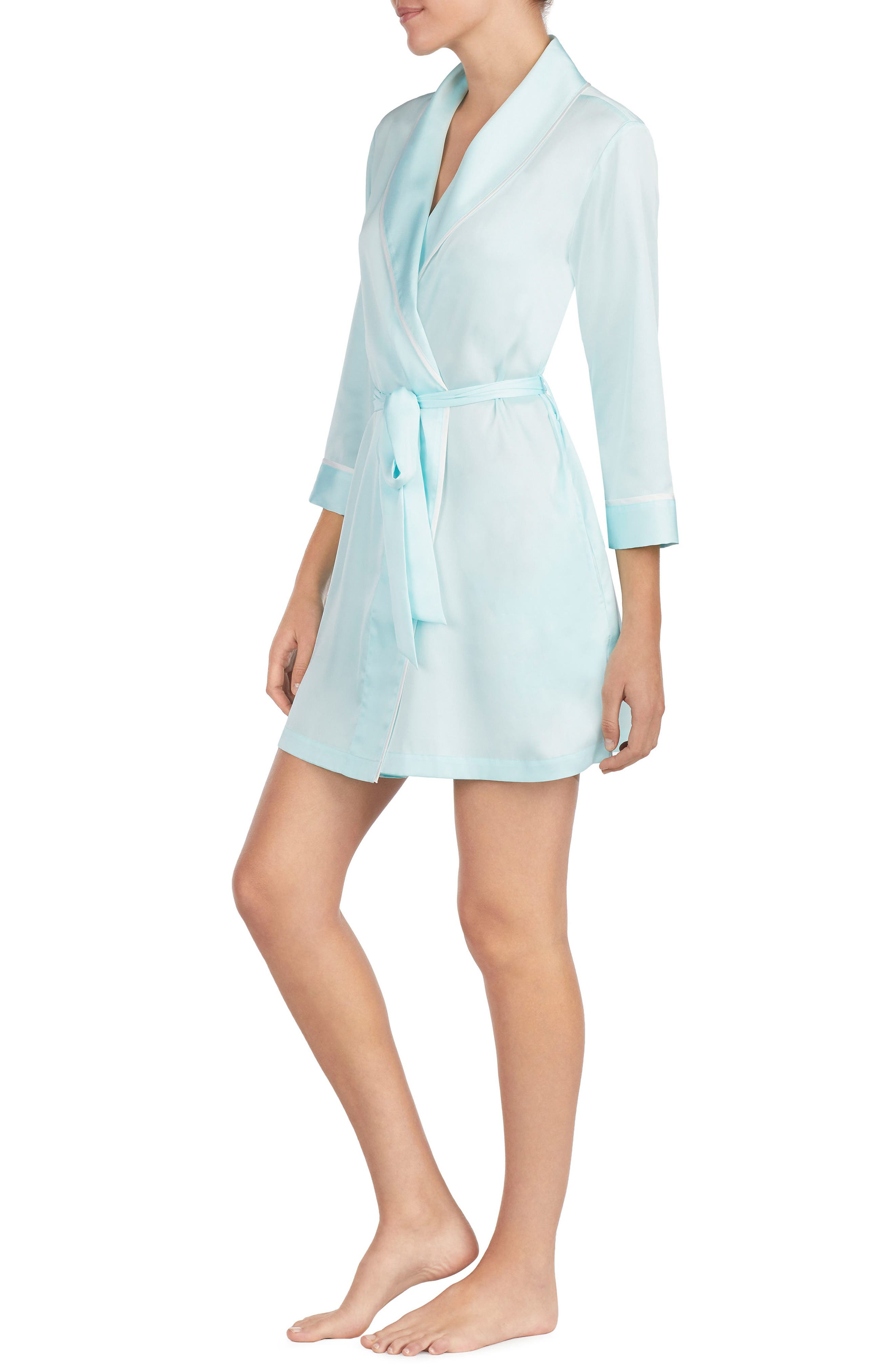 happily ever after charmeuse short robe,                             Alternate thumbnail 3, color,                             405