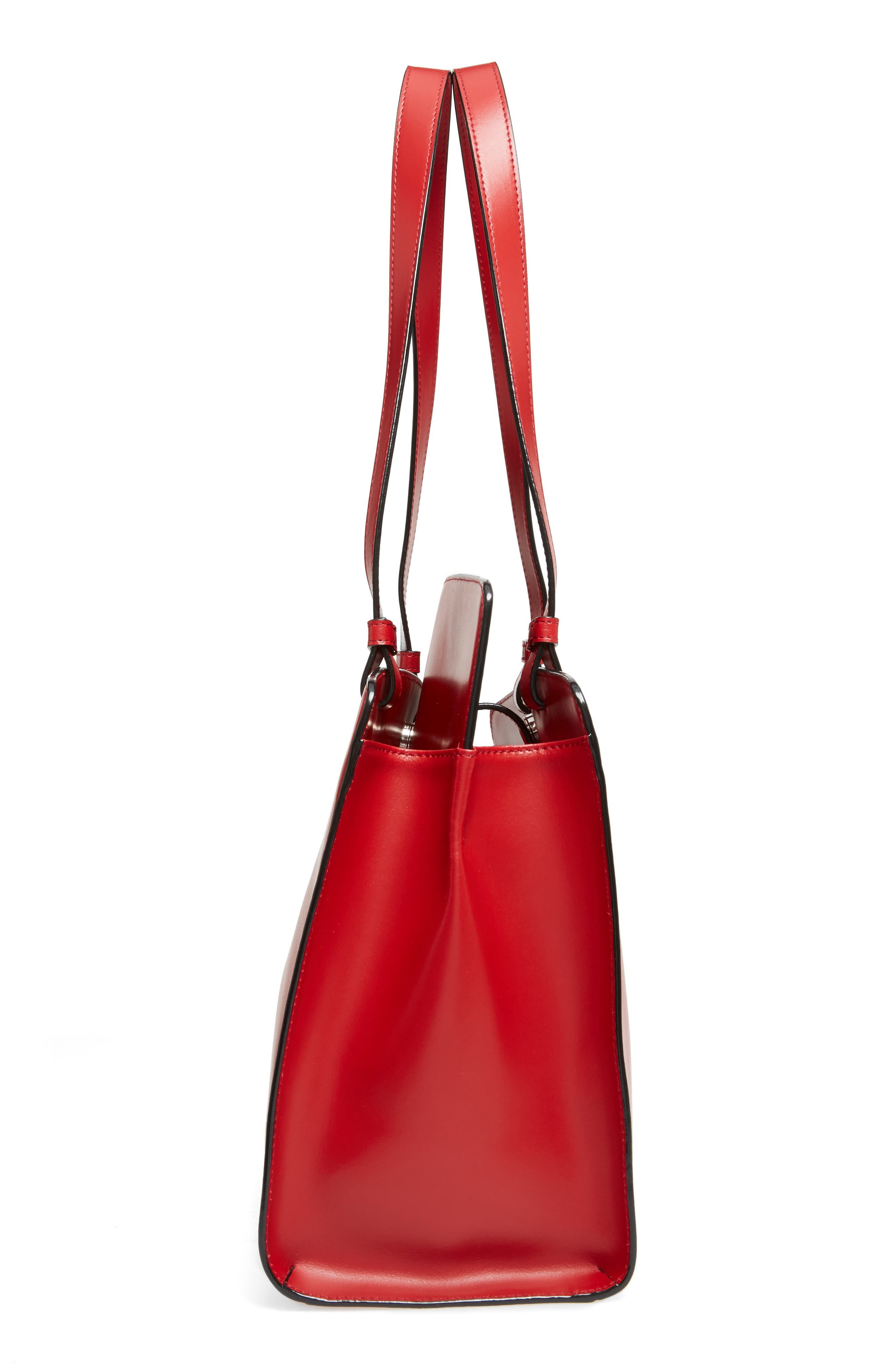 Audrey Under Lock & Key - Jana RFID Leather Tote,                             Alternate thumbnail 5, color,                             RED