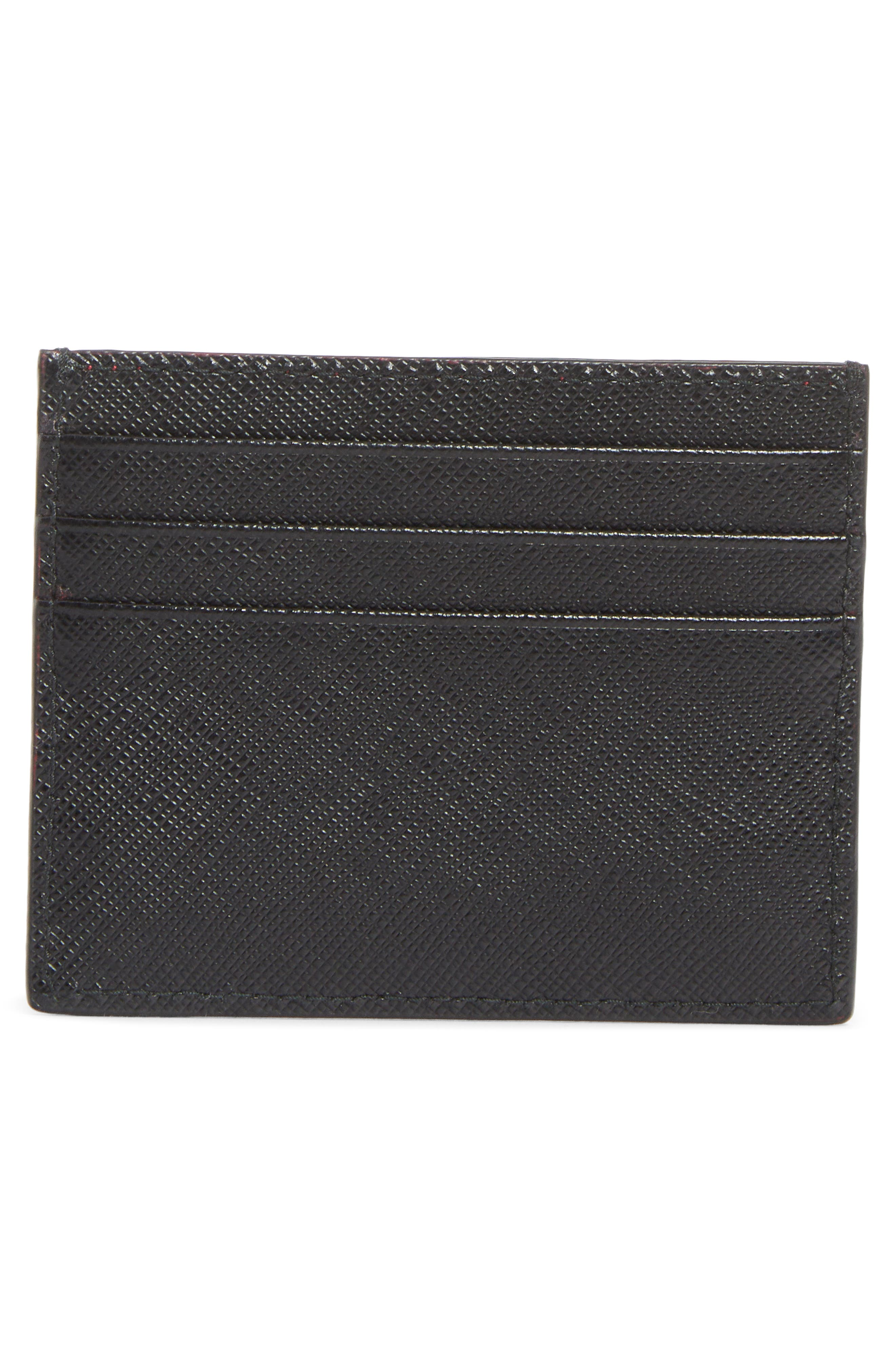 Embellished Saffiano Leather Card Case,                             Alternate thumbnail 2, color,                             001
