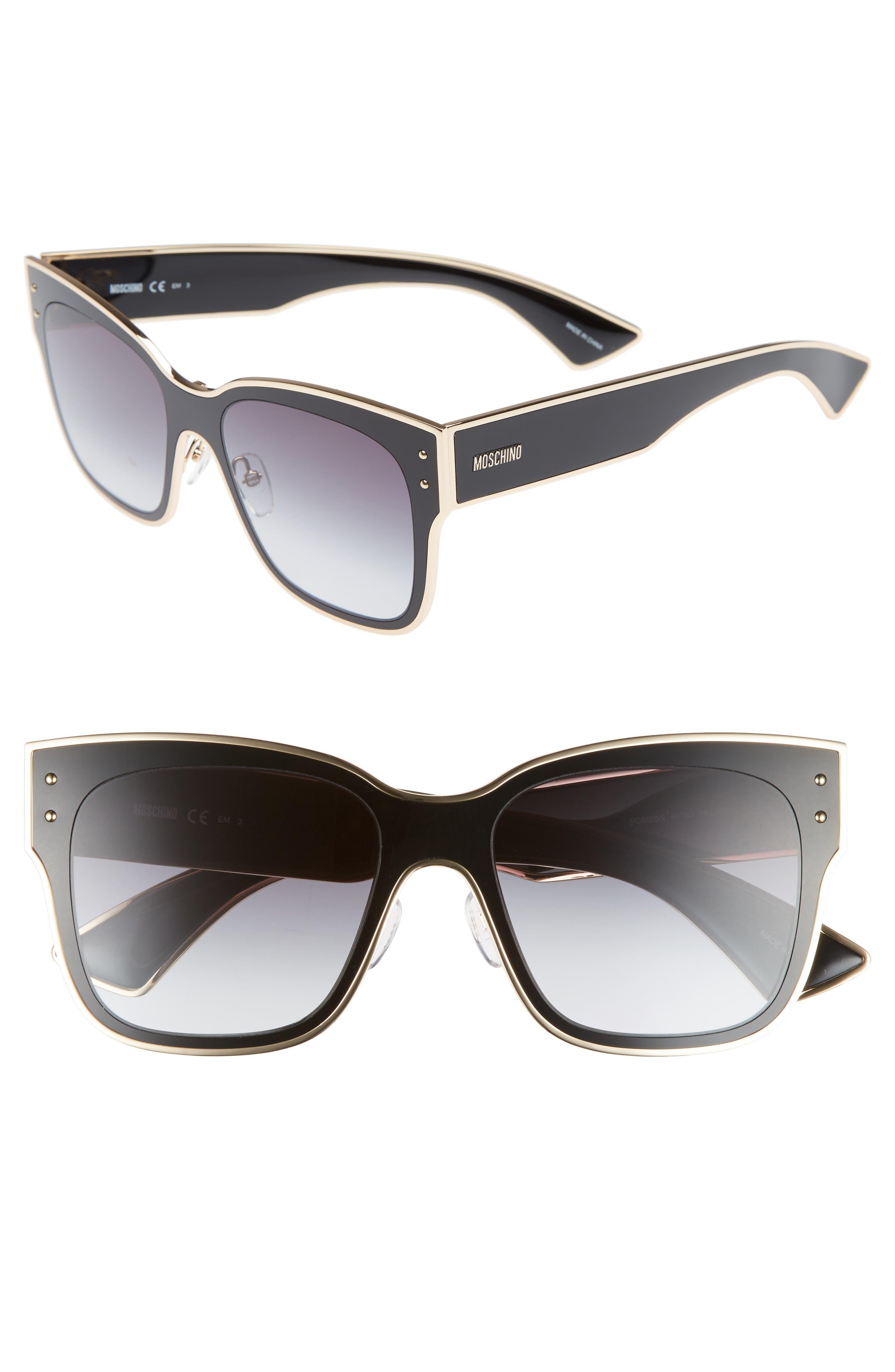 55mm Cat Eye Sunglasses,                             Main thumbnail 1, color,                             BLACK