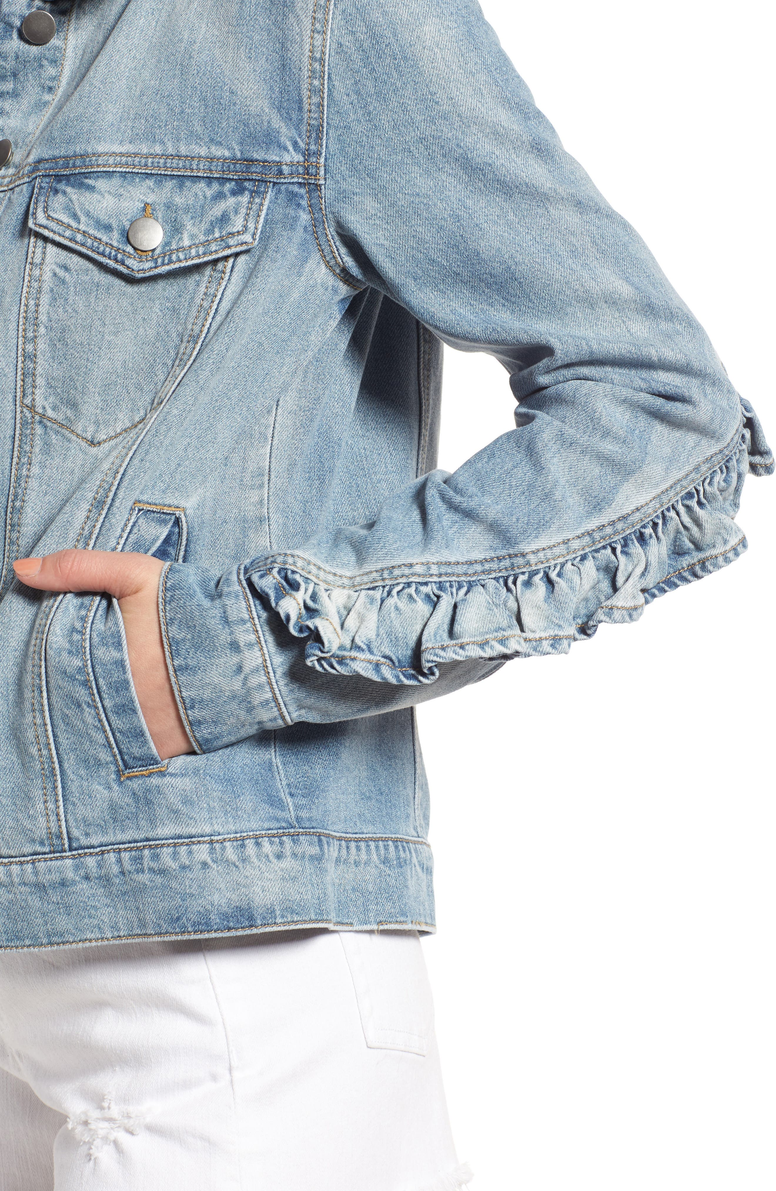 BP.,                             Ruffle Denim Jacket,                             Alternate thumbnail 4, color,                             400