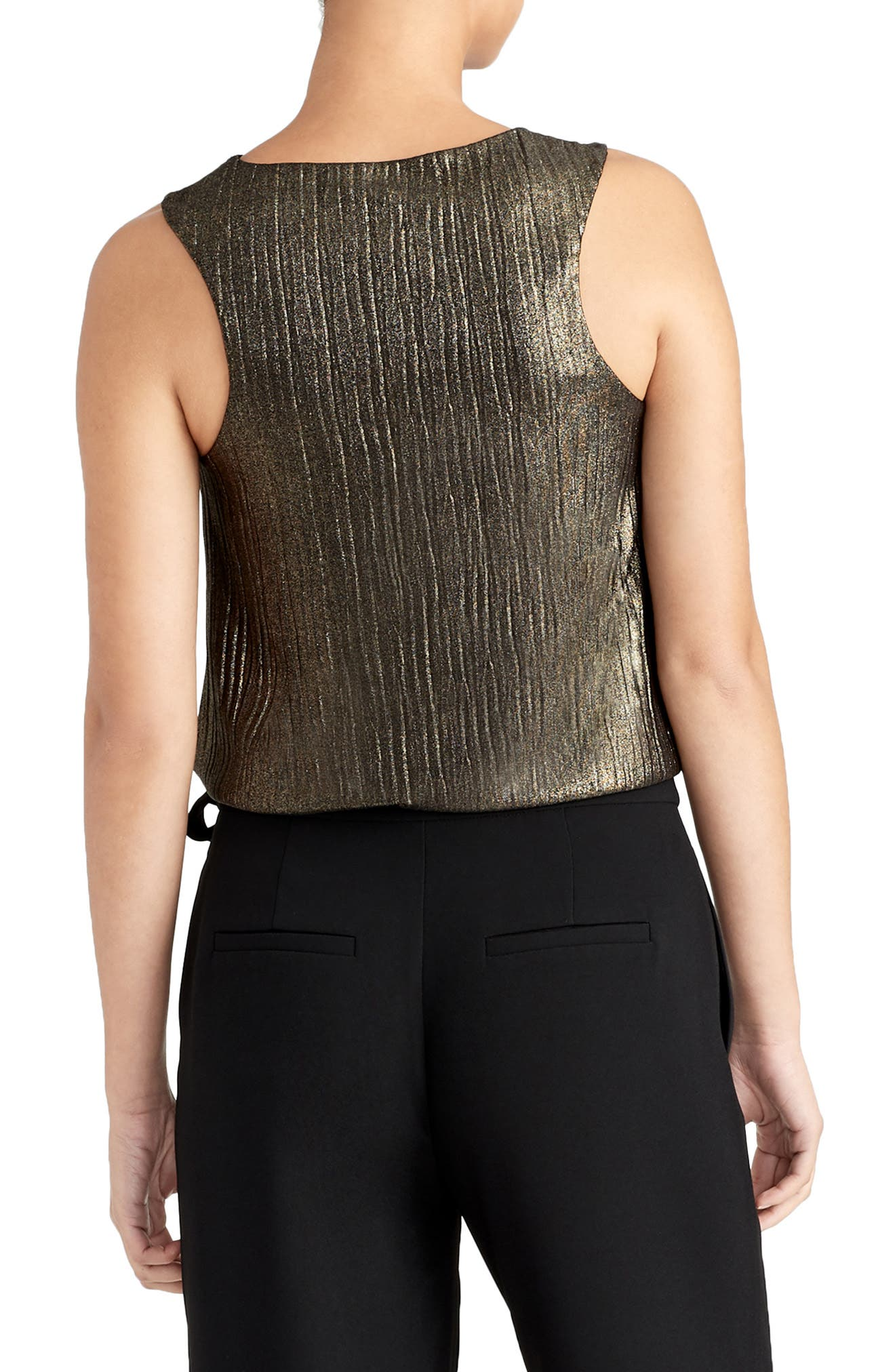 Pleated Metallic Tank,                             Alternate thumbnail 2, color,                             BLACK/ GOLD