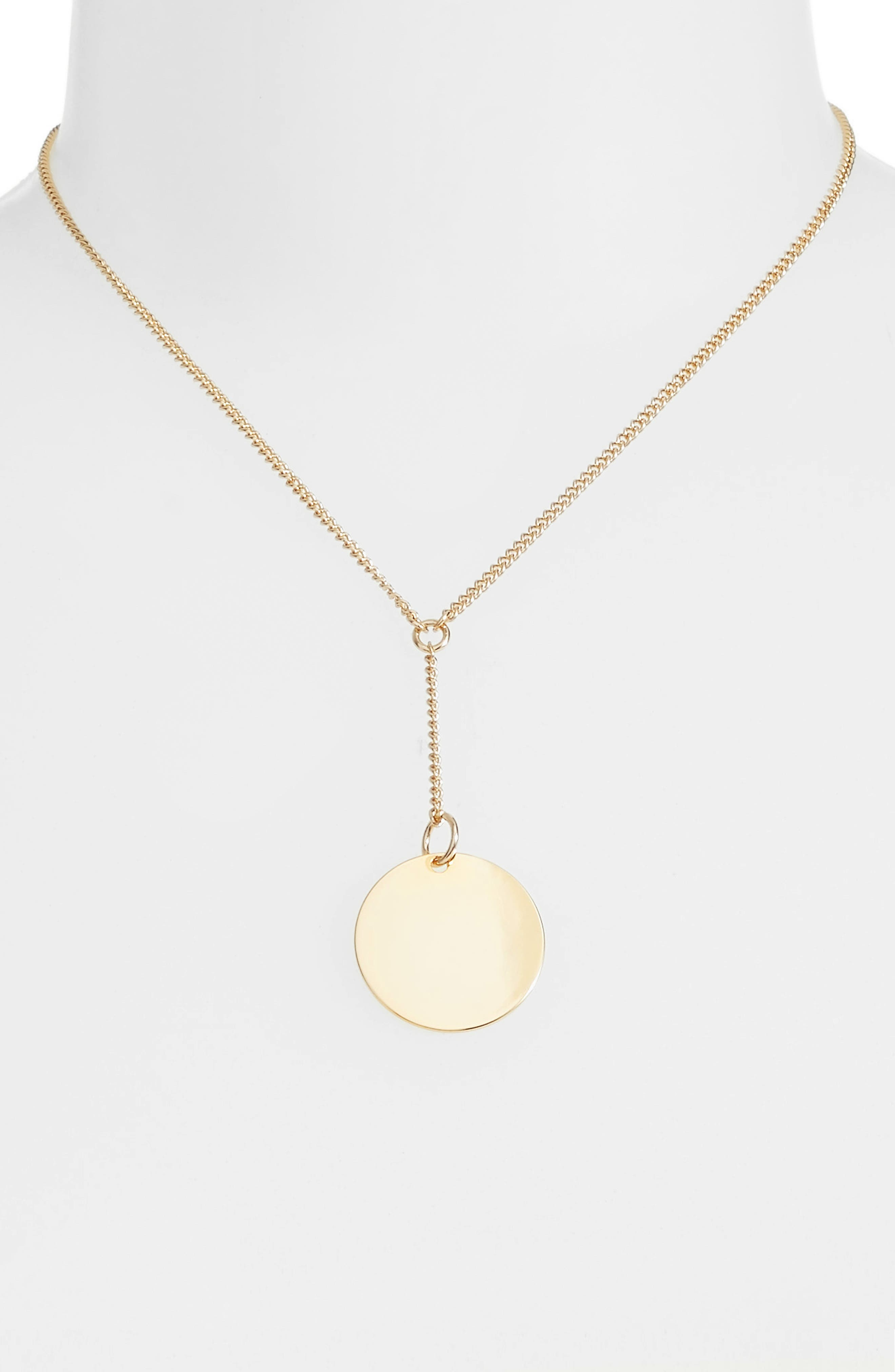 Short Disc Y-Shaped Necklace,                             Alternate thumbnail 2, color,                             GOLD