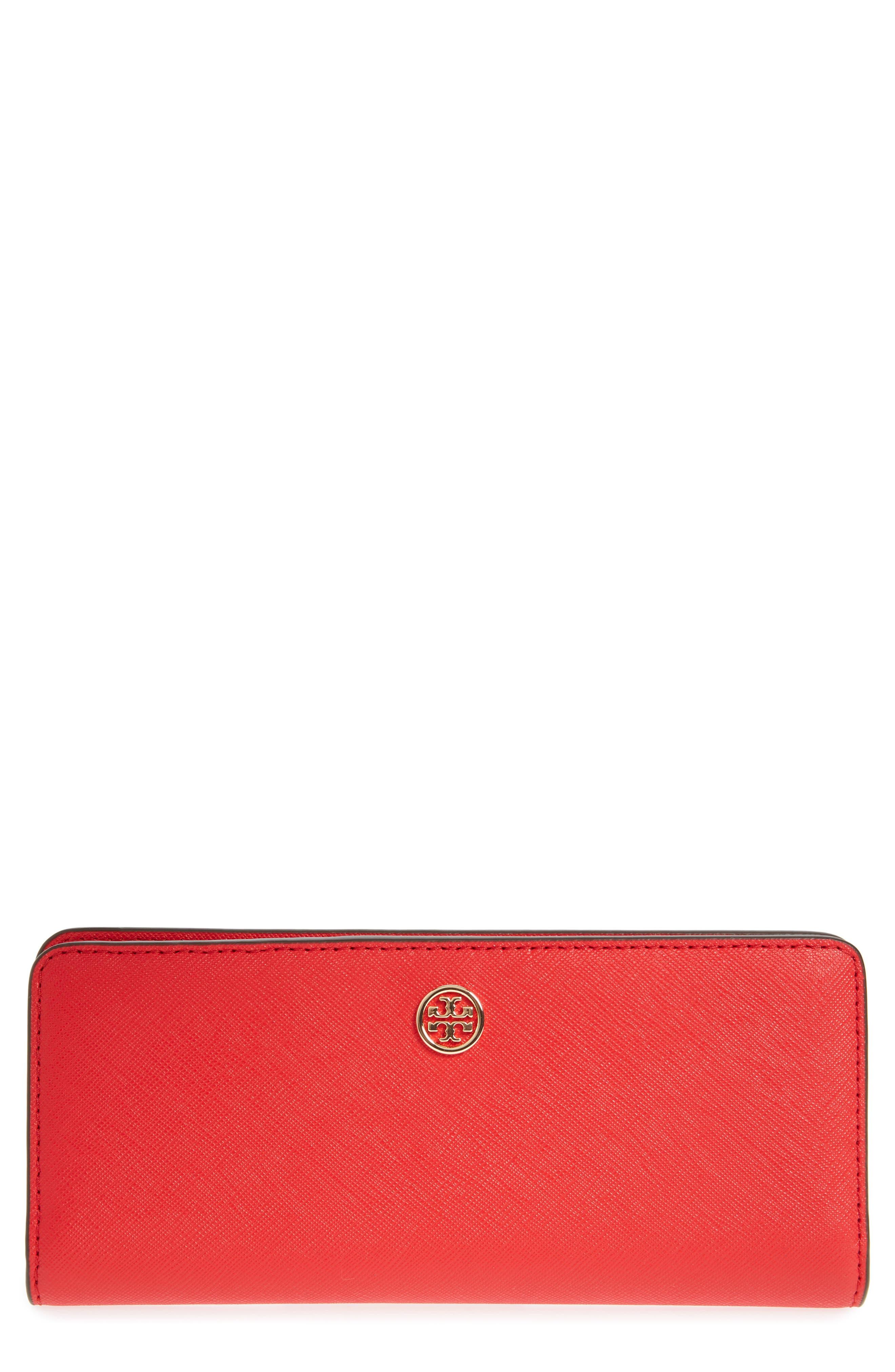 Robinson Saffiano Leather Continental Wallet,                         Main,                         color, BRILLIANT RED