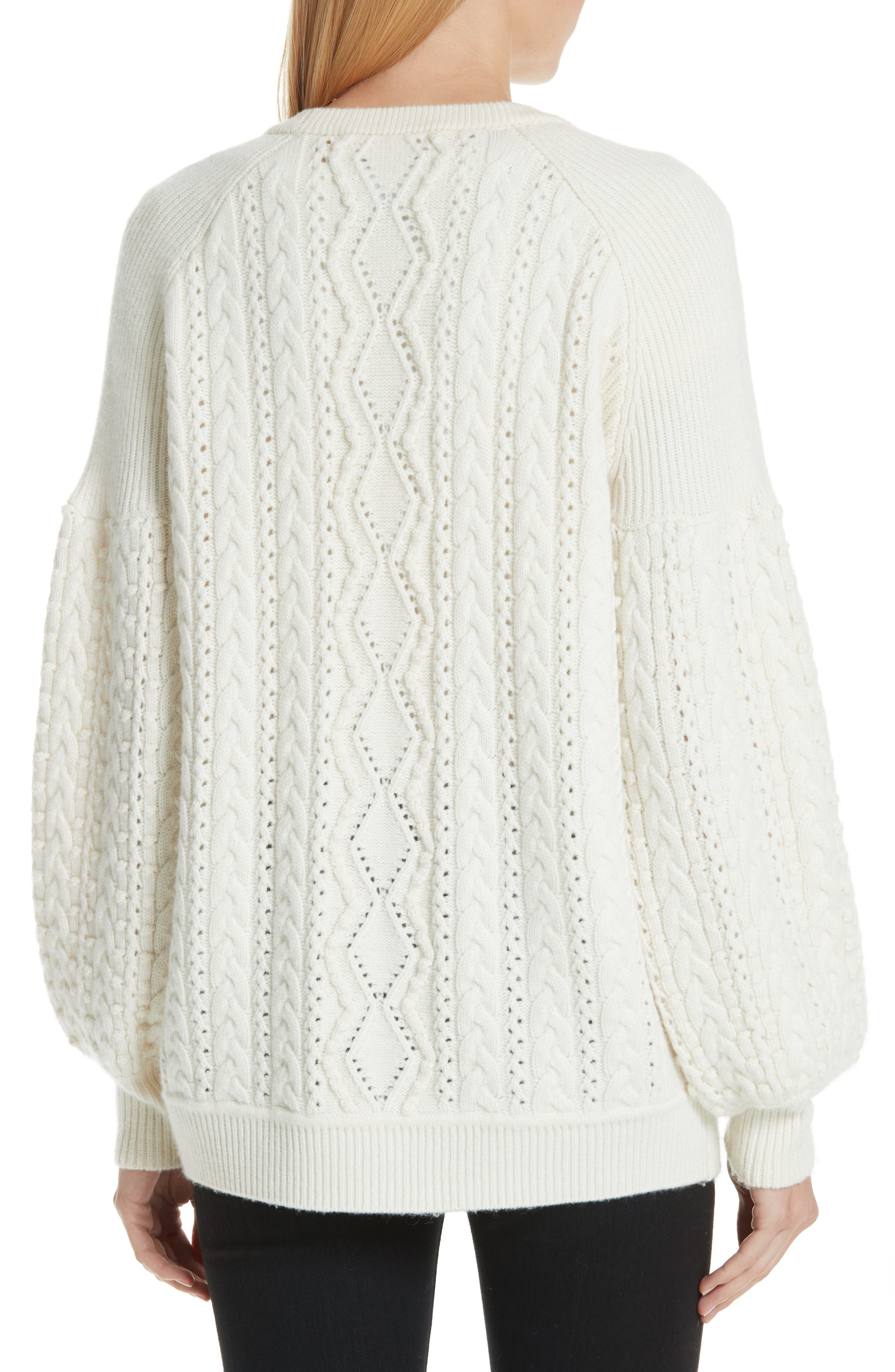 Cable Knit Wool & Cashmere Cardigan,                             Alternate thumbnail 2, color,                             IVORY