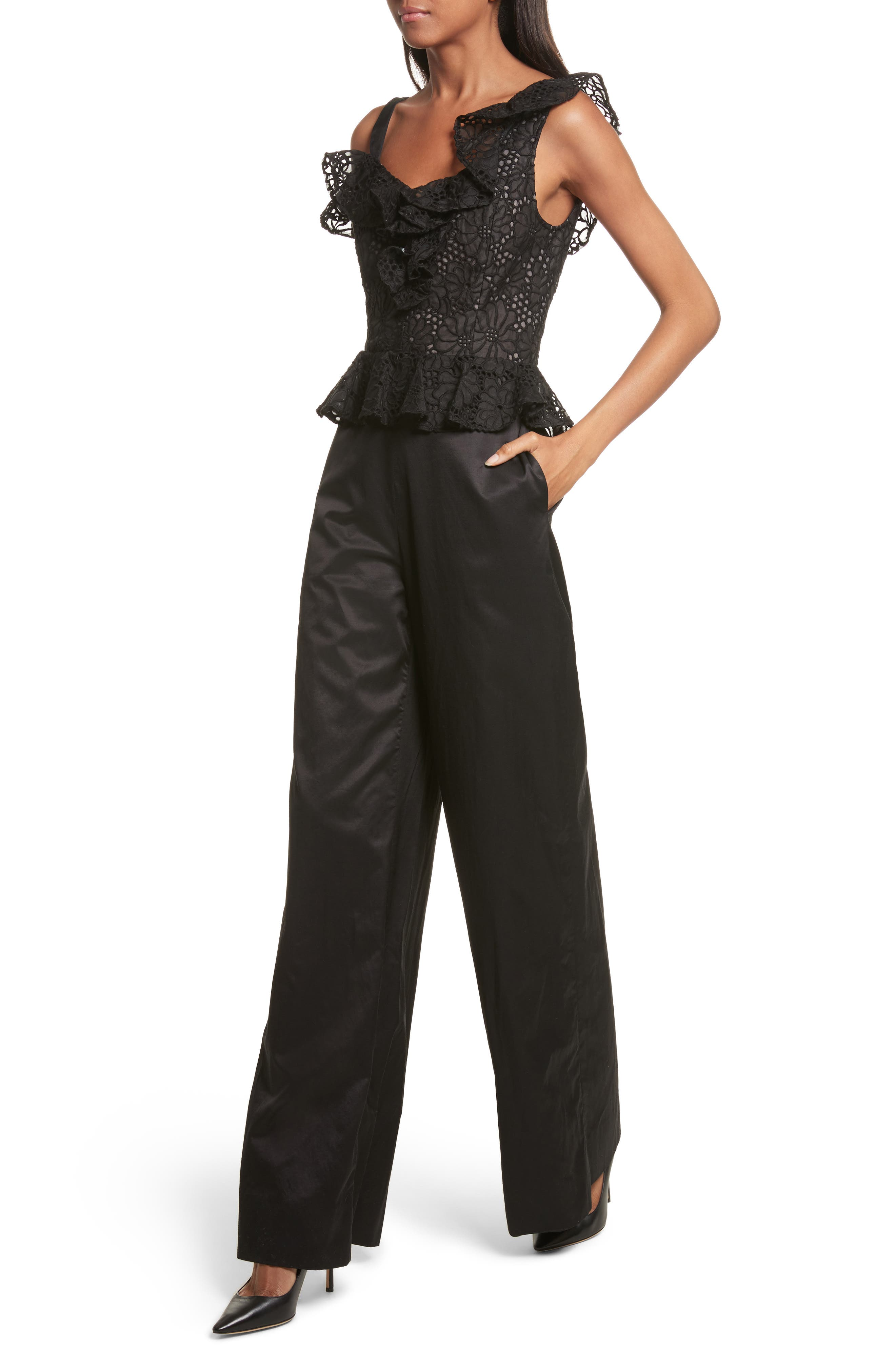 Malorie Off the Shoulder Embroidered Silk Jumpsuit,                             Alternate thumbnail 4, color,                             001