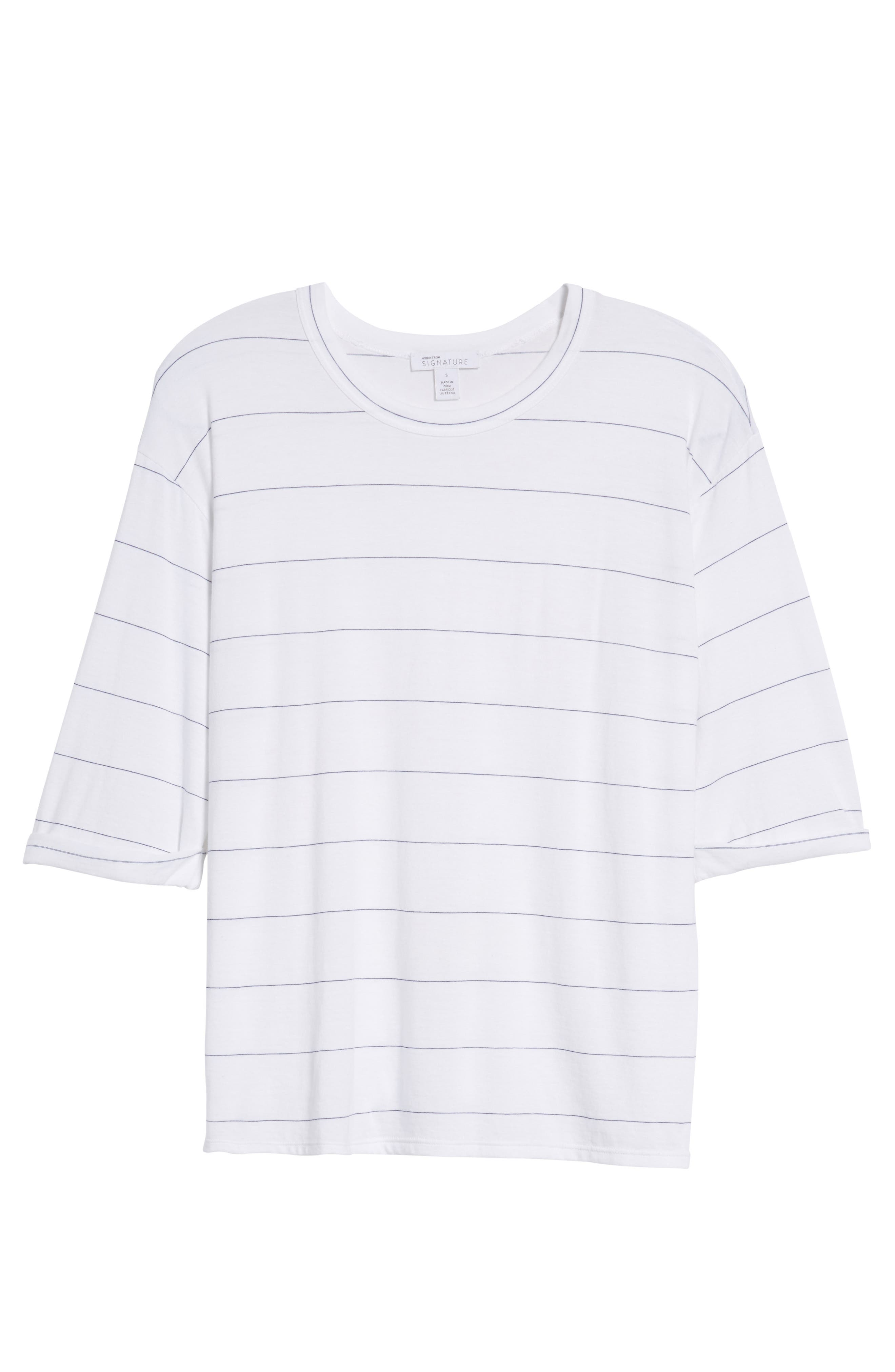 Stripe Relaxed Tee,                             Alternate thumbnail 6, color,                             100