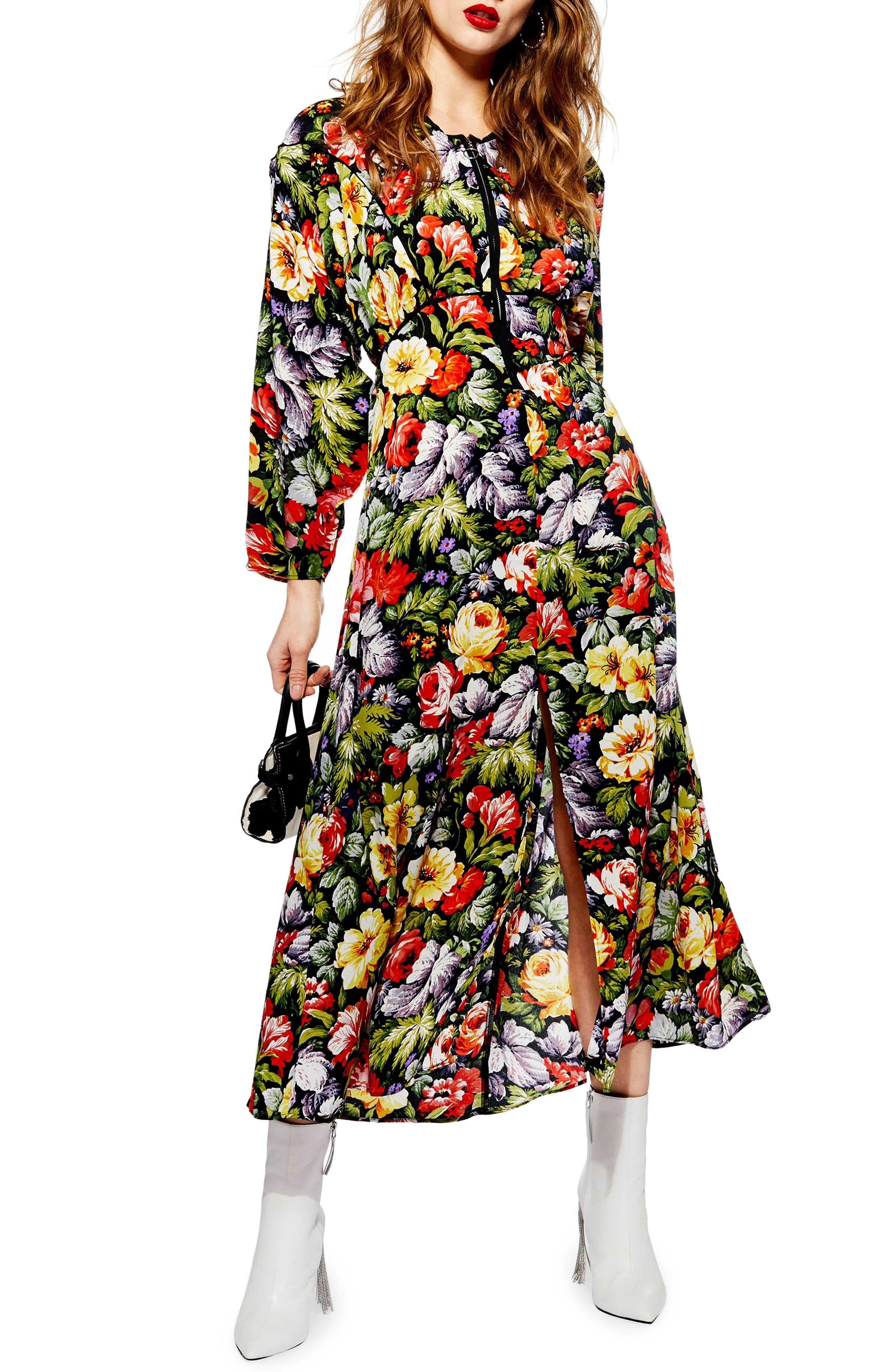 Topshop Floral Zip Through Midi Dress, US (fits like 0) - Green