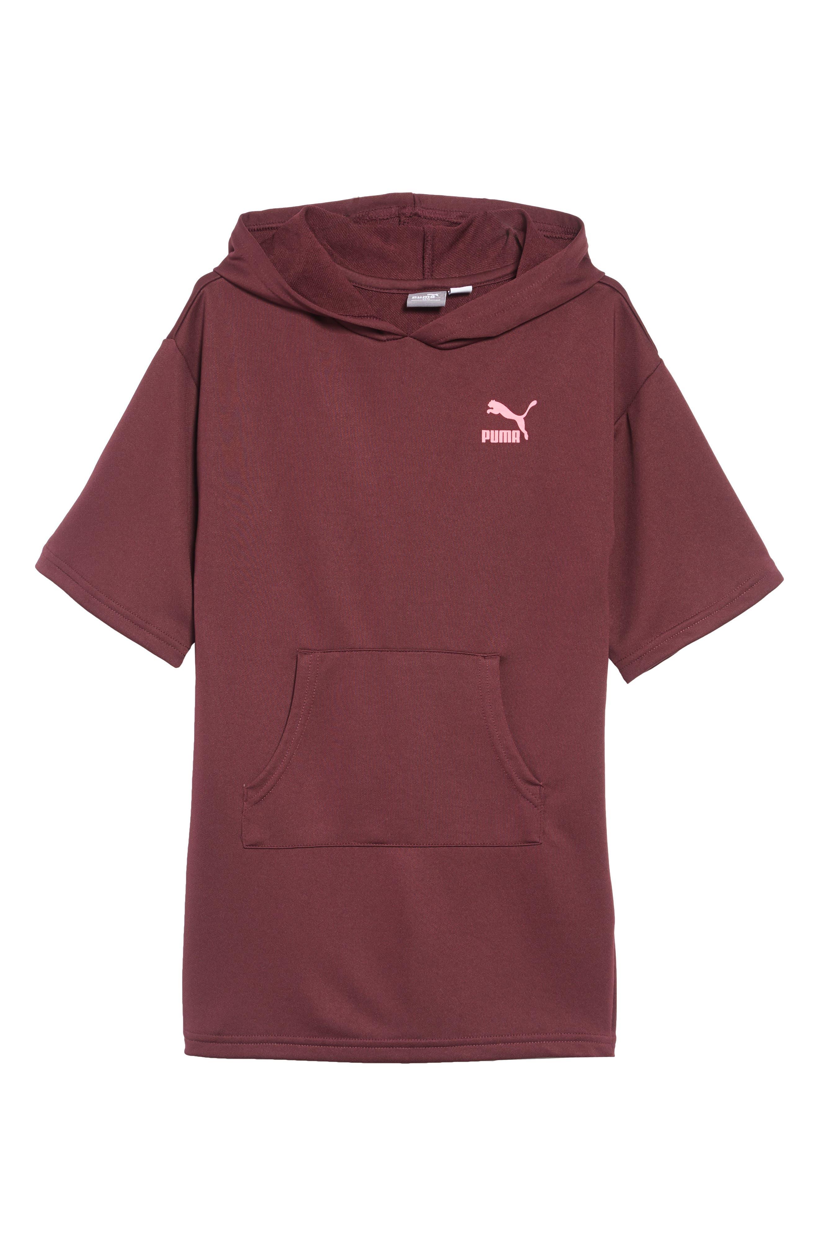 PUMA,                             Oversized Hooded Sweatshirt Dress,                             Main thumbnail 1, color,                             597