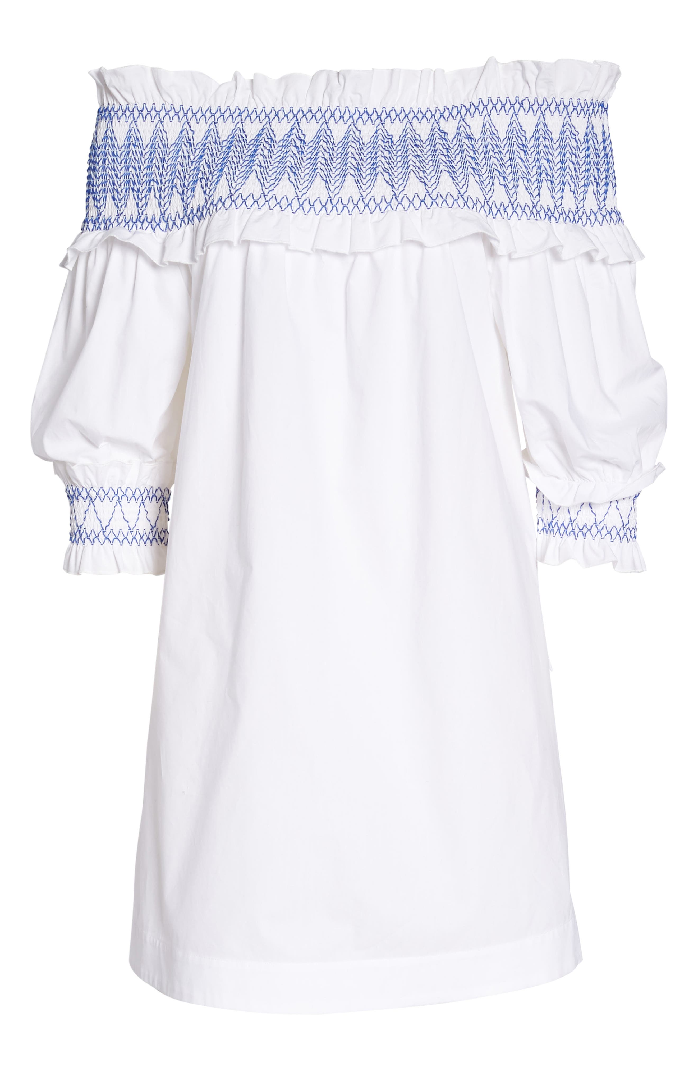 Smocked Cover-Up Dress,                             Alternate thumbnail 6, color,                             110