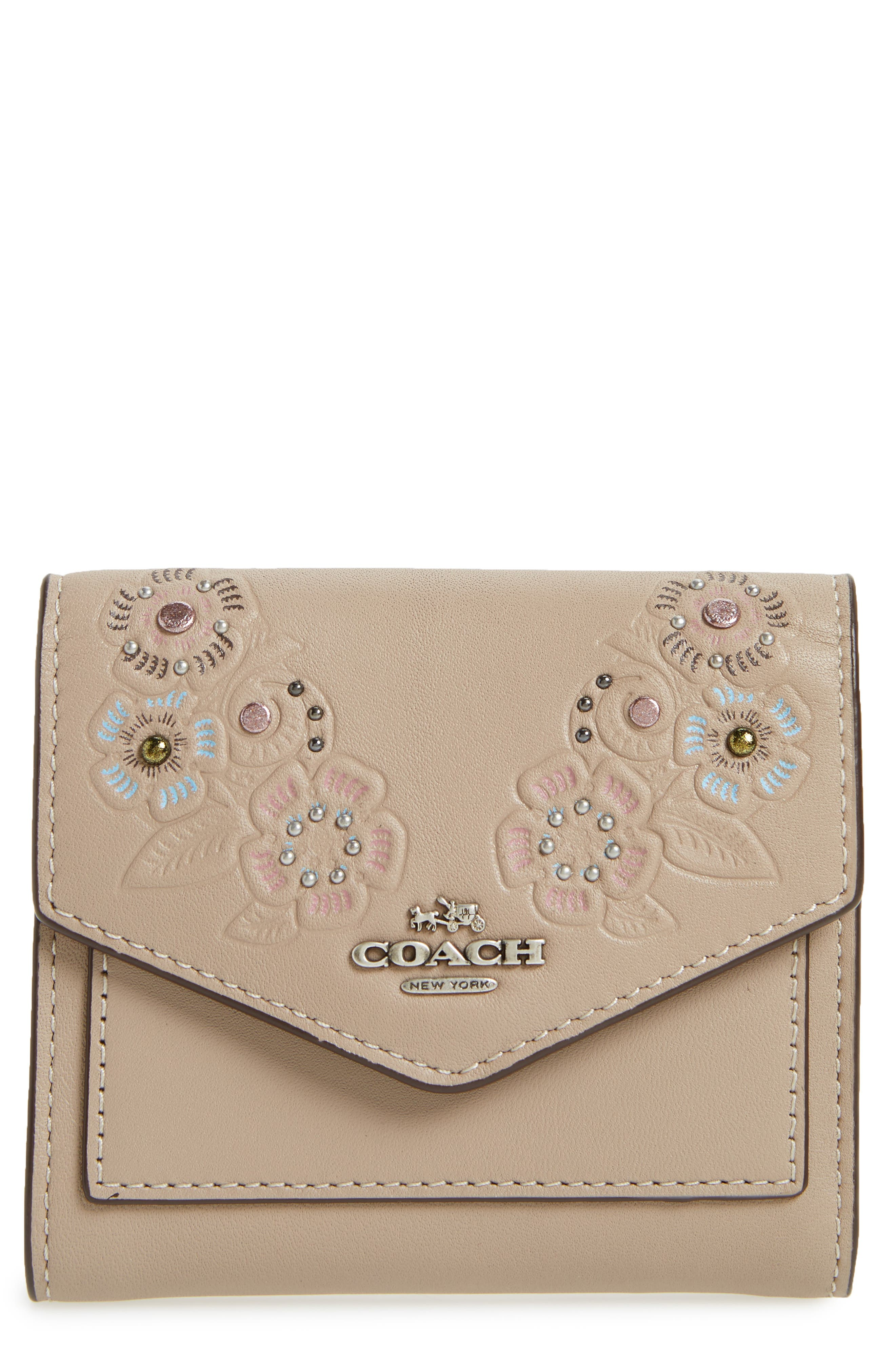 Small Tea Rose Calfskin Leather Trifold Wallet,                         Main,                         color, 020