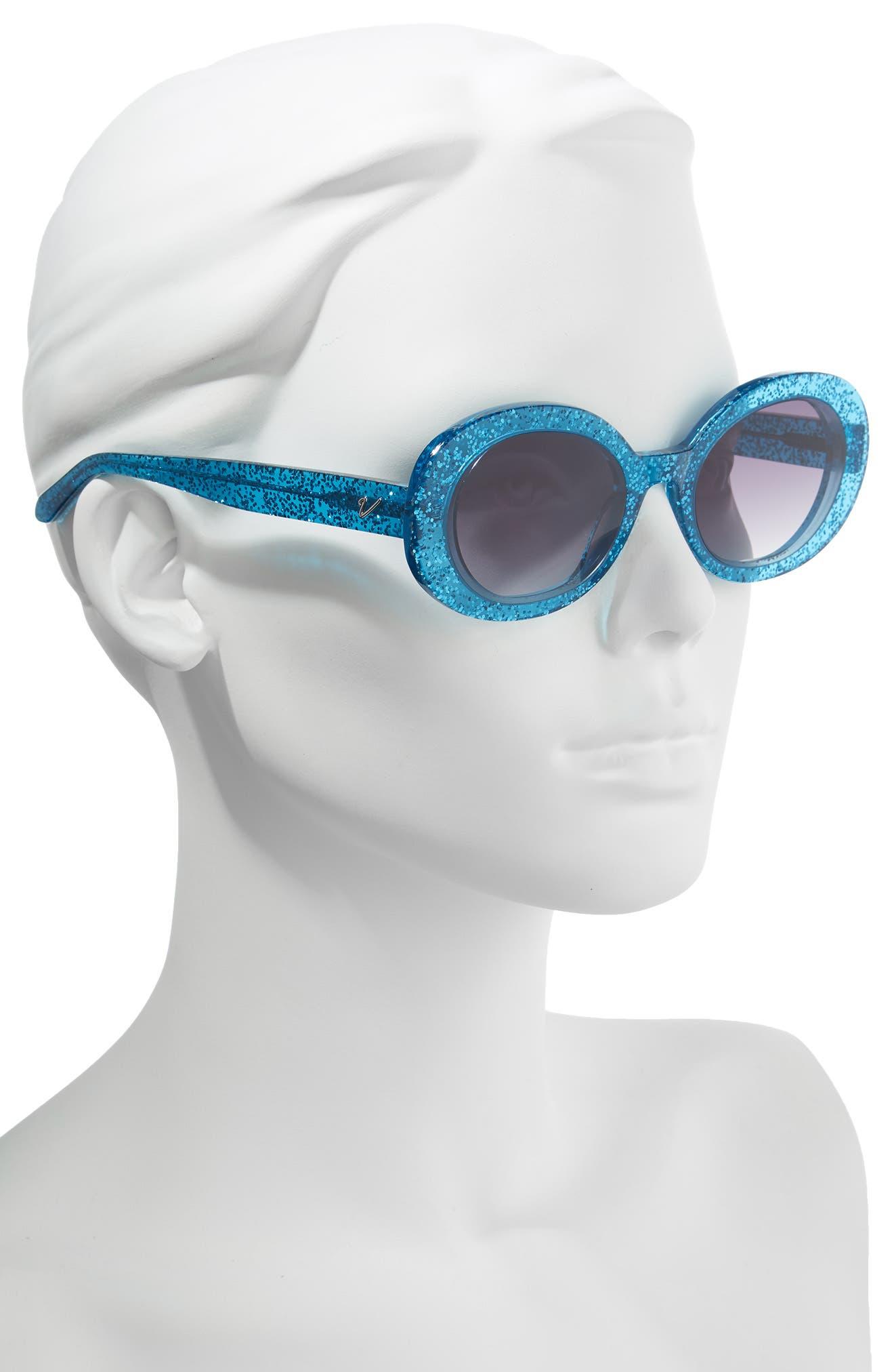 Selena 53mm Oval Sunglasses,                             Alternate thumbnail 2, color,                             BLUE GLITTER/ SMOKE