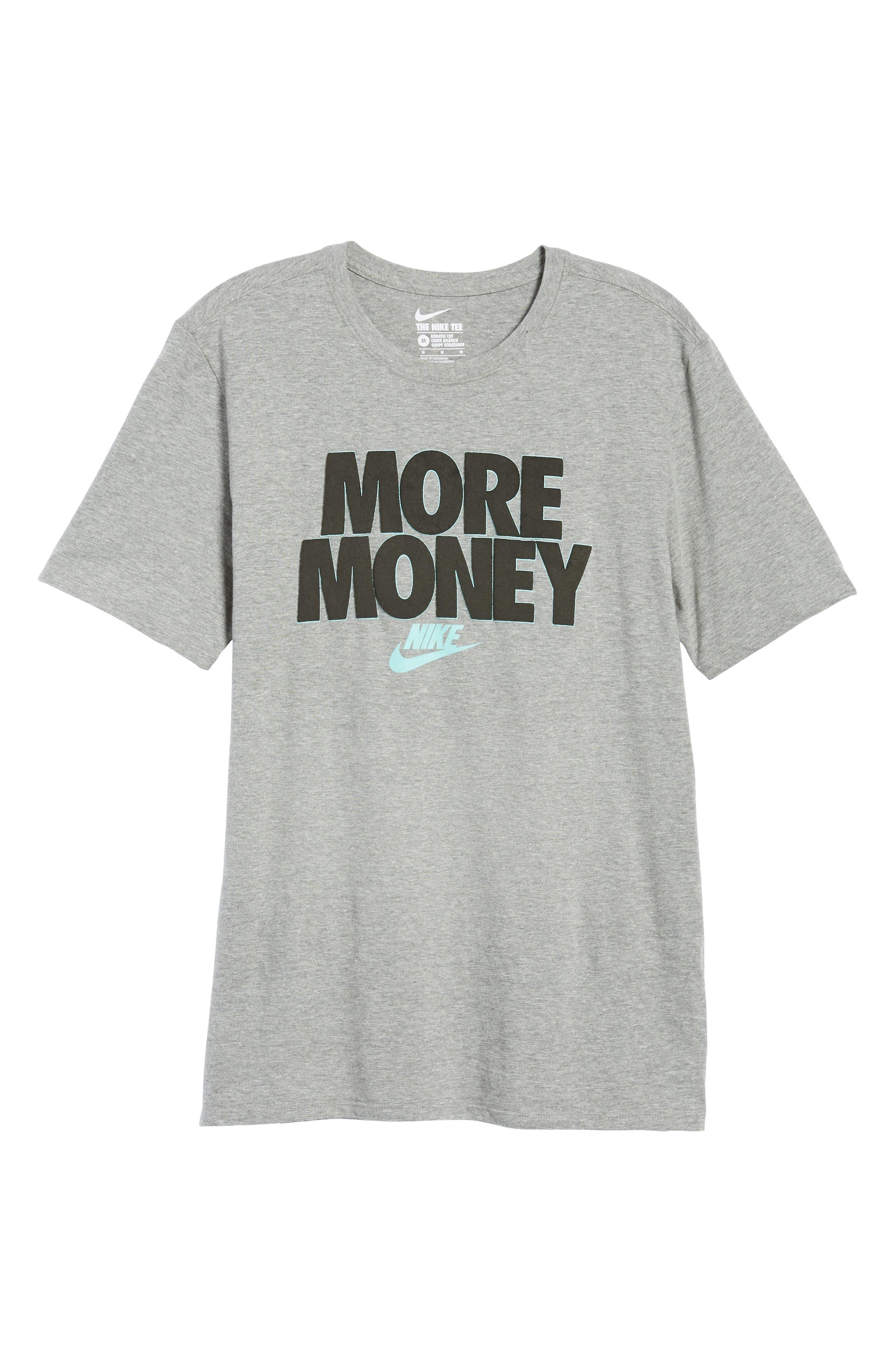 Sportswear More Money T-Shirt,                             Alternate thumbnail 6, color,                             DK GREY HEATHER/ BLACK