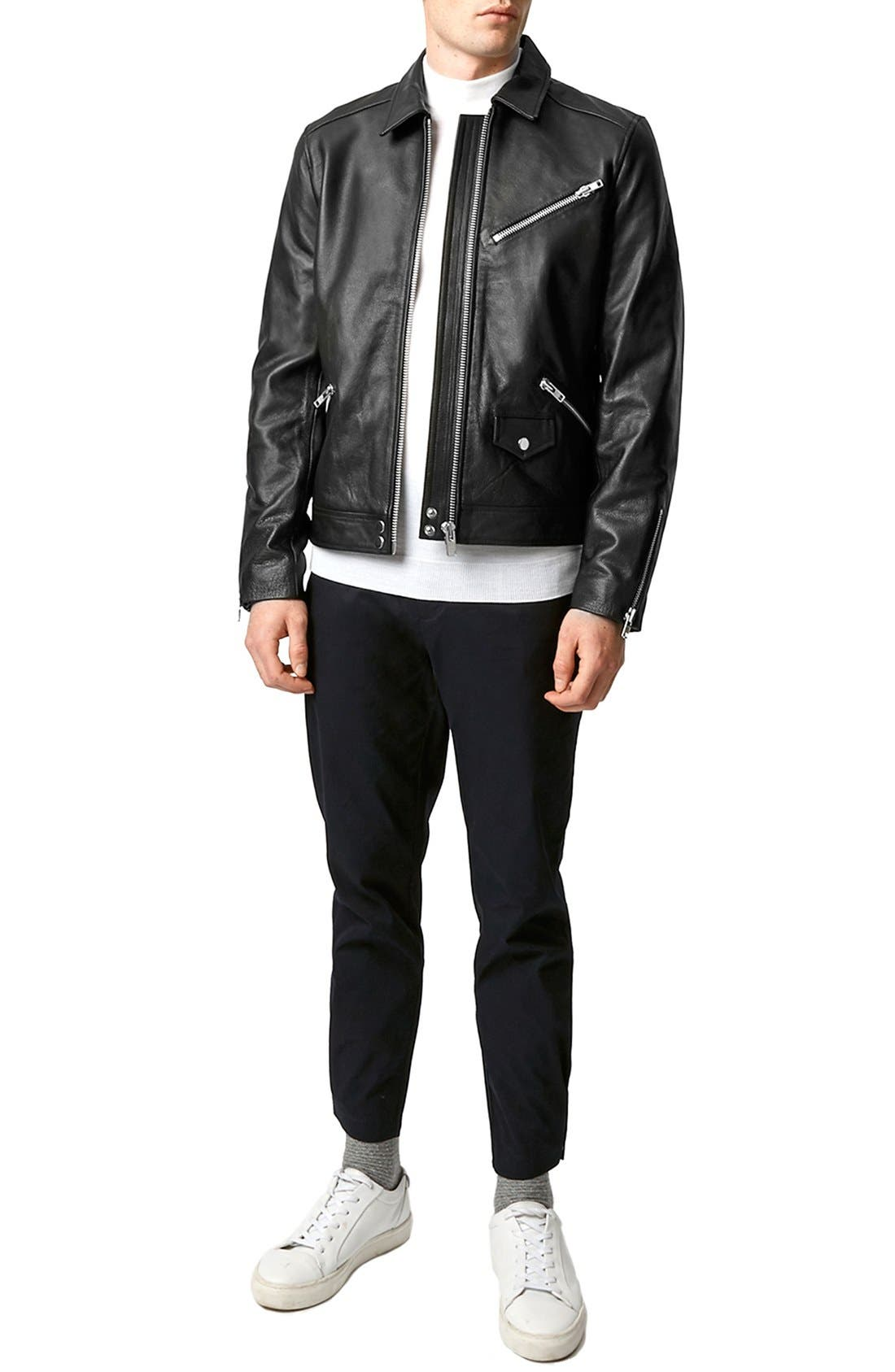 Black Leather Harrington Jacket,                             Alternate thumbnail 2, color,                             001