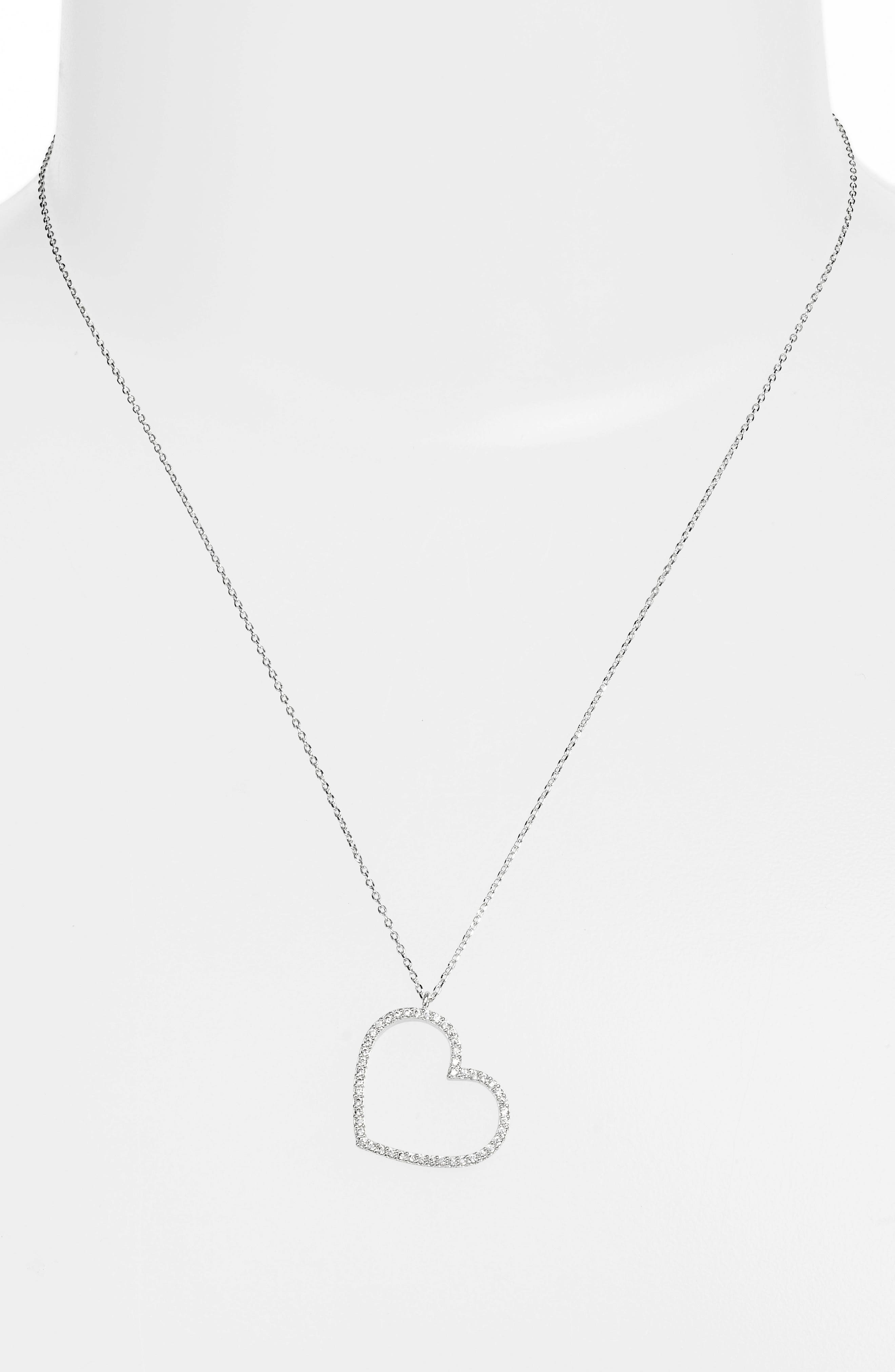 Cubic Zirconia Heart Necklace,                             Alternate thumbnail 2, color,                             040