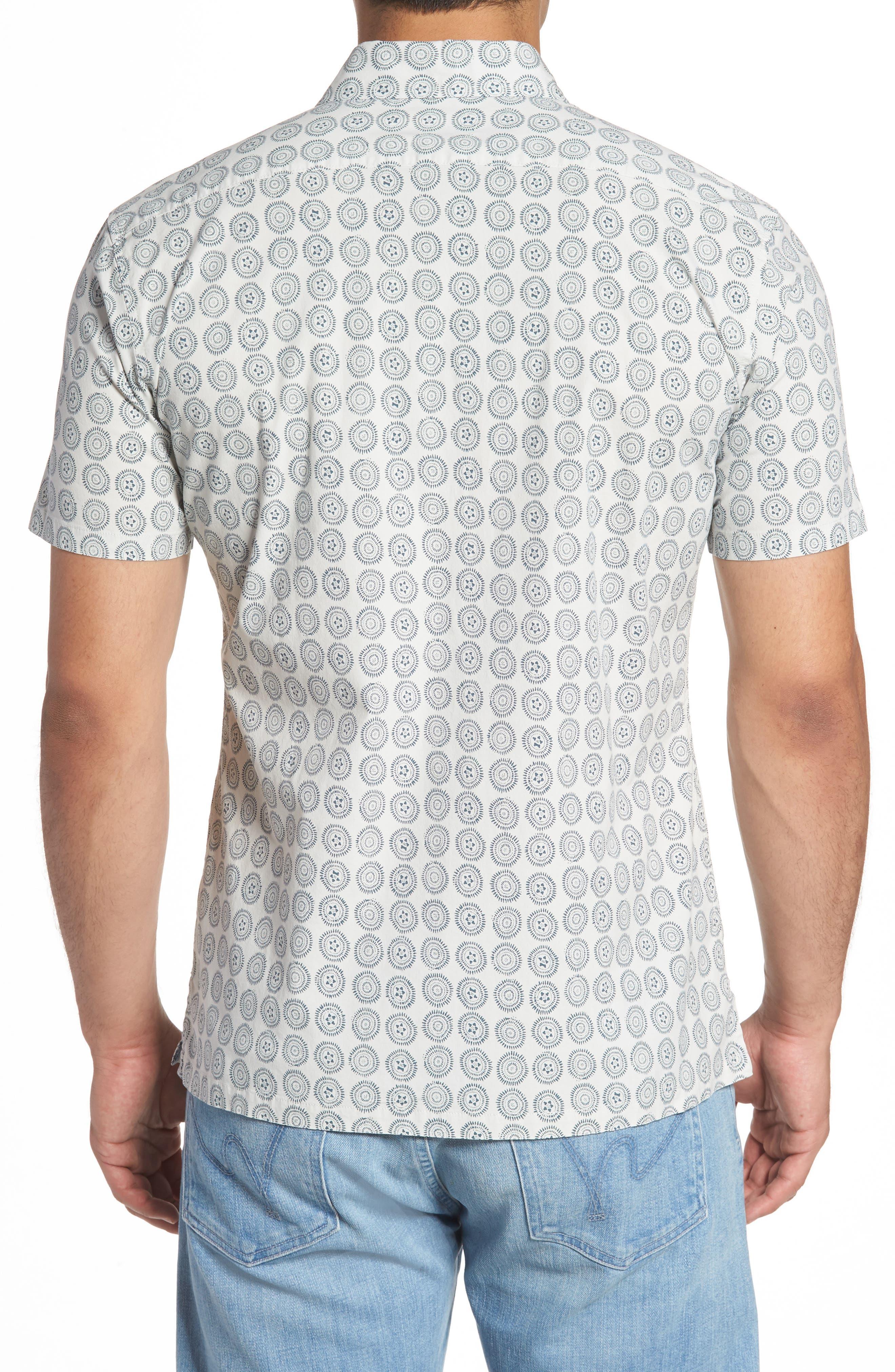 Sea Crest Slim Fit Print Camp Shirt,                             Alternate thumbnail 4, color,