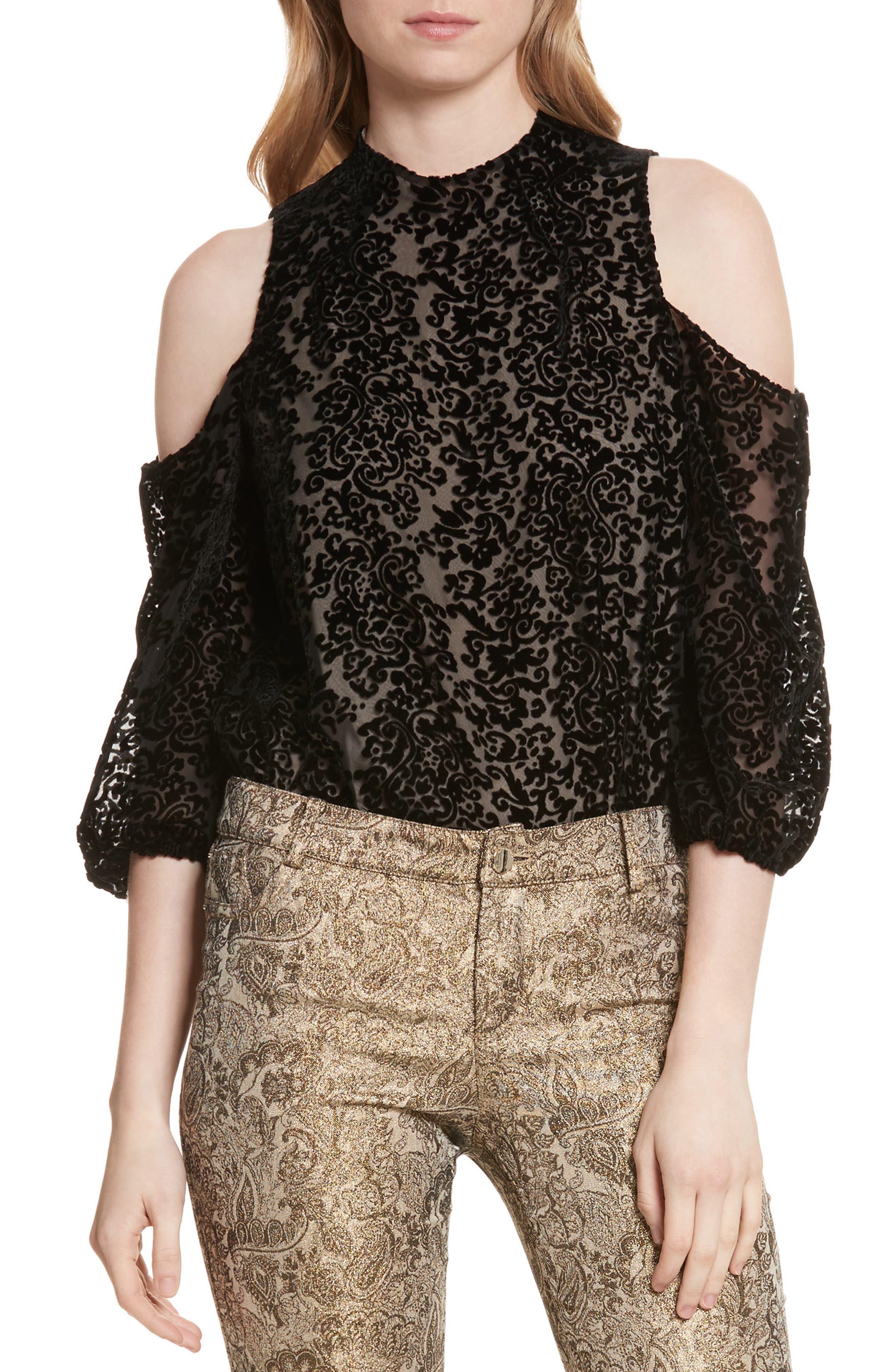 Hallie Cold Shoulder Velvet Burnout Top,                         Main,                         color, 001