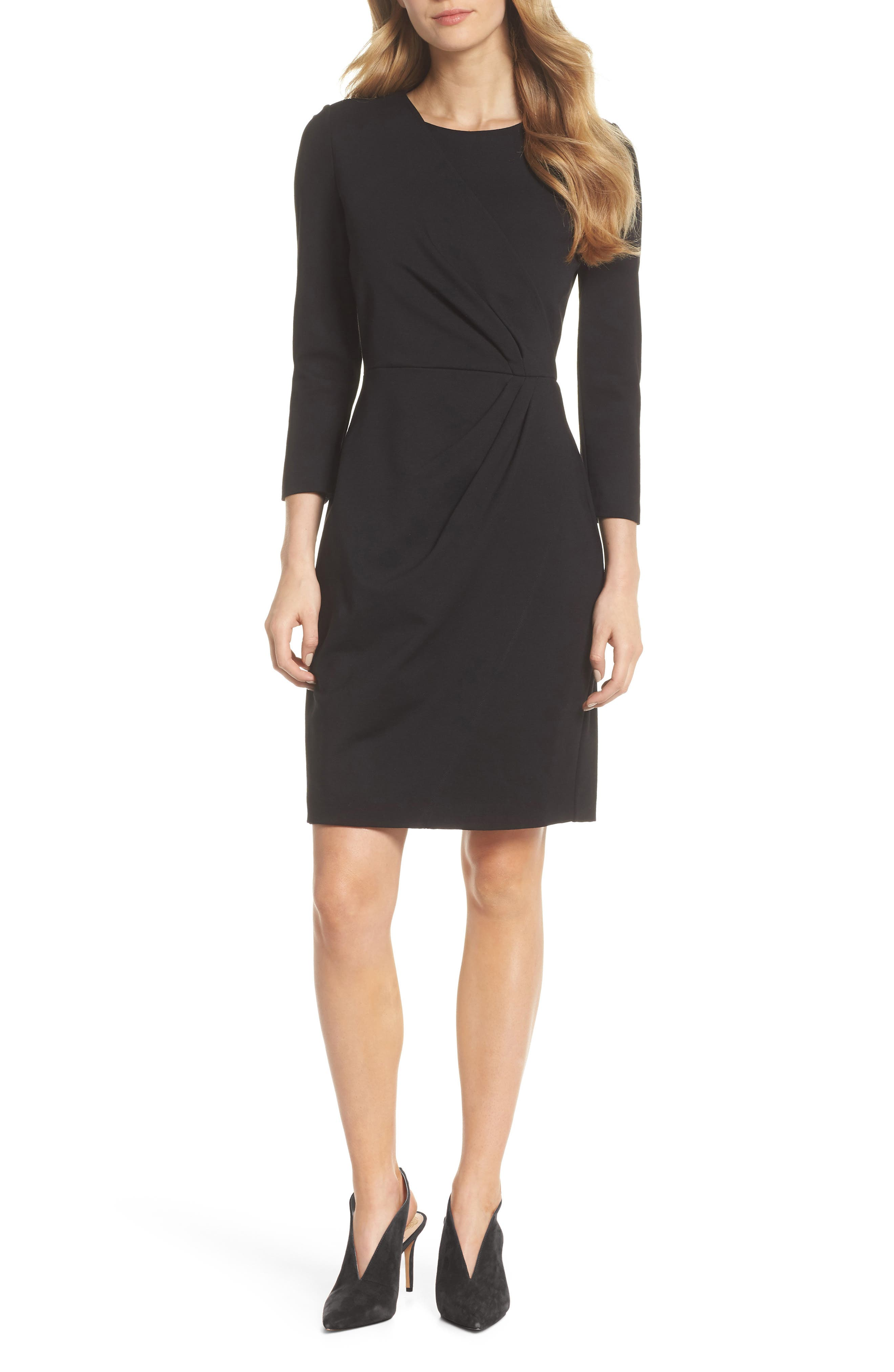 Faux Wrap Ponte Sheath Dress,                         Main,                         color, 001