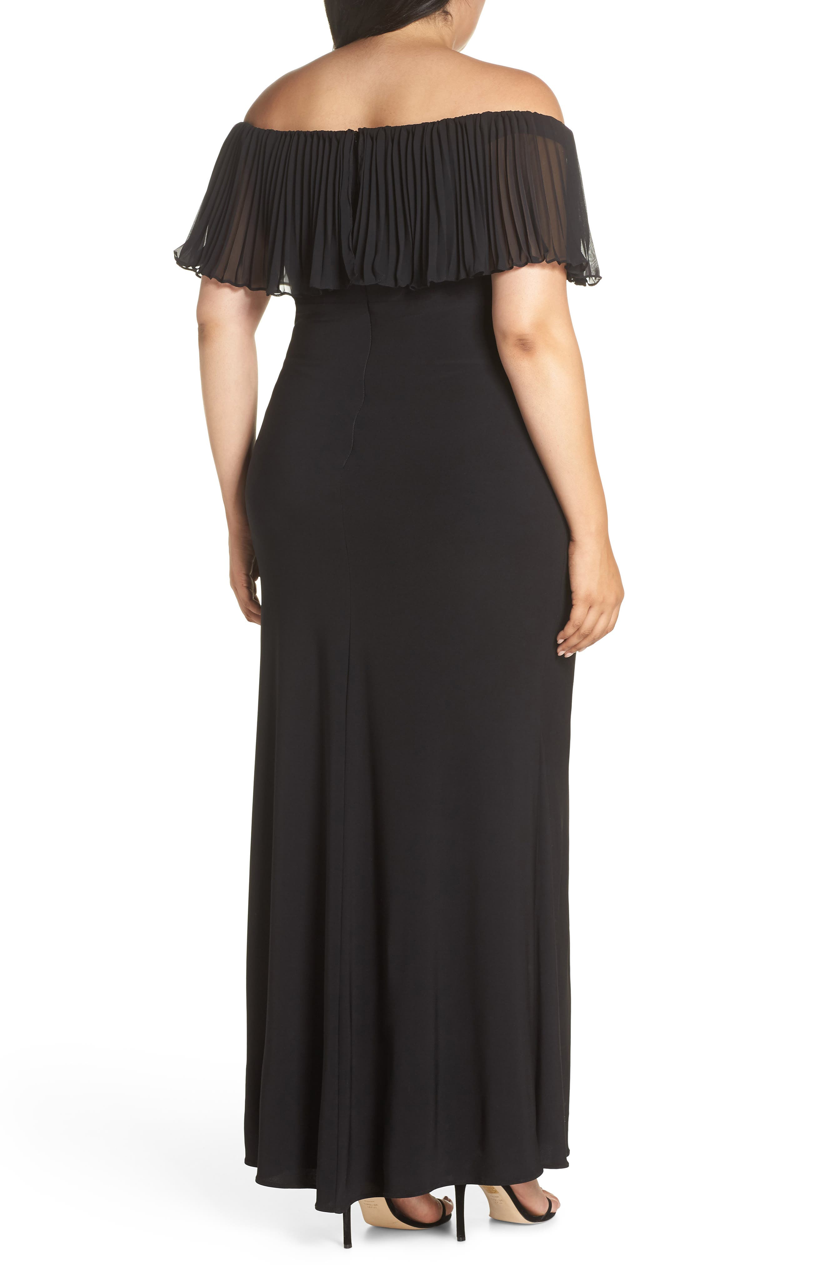 Pleated Chiffon Popover Gown,                             Alternate thumbnail 2, color,                             BLACK