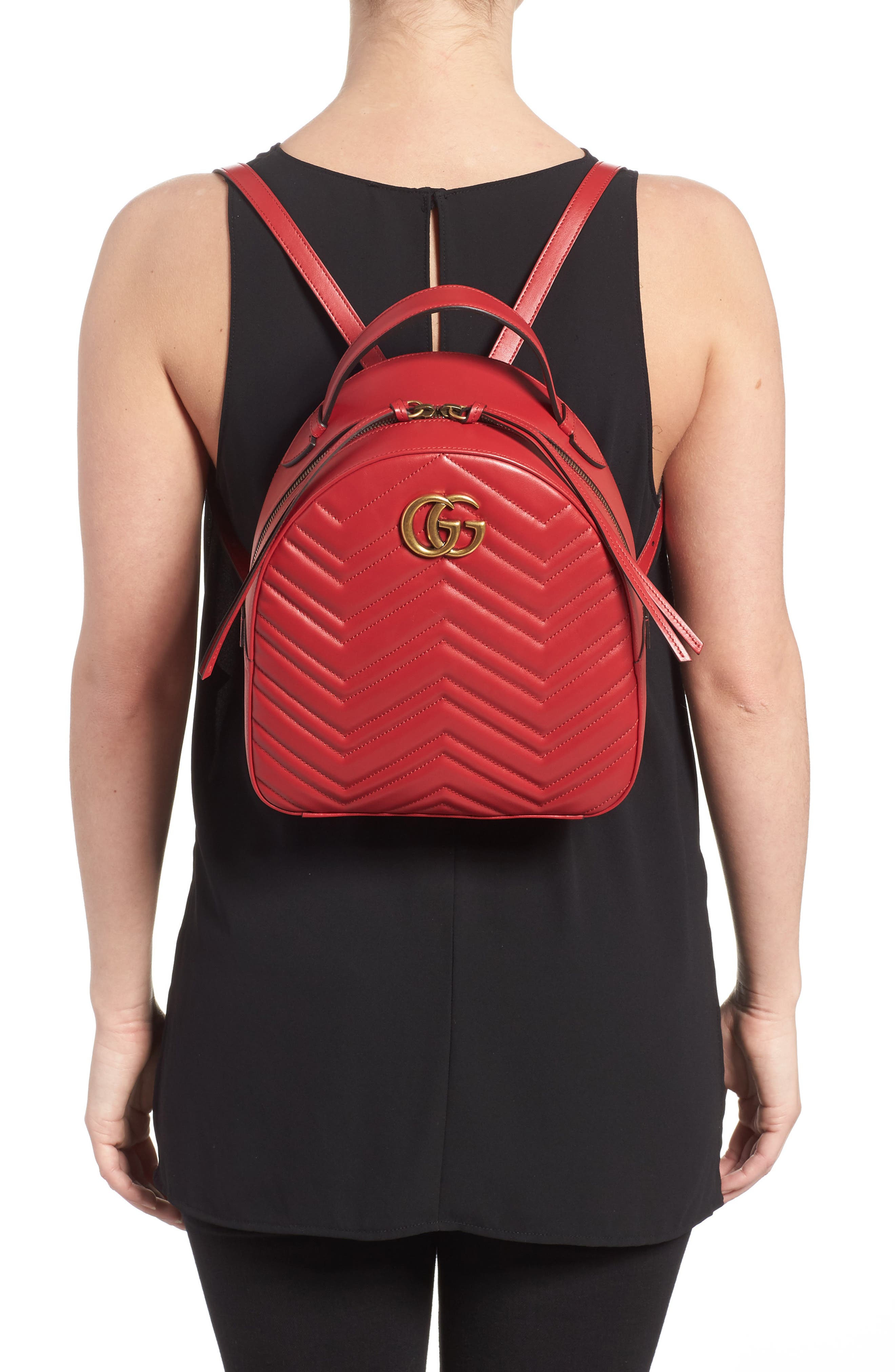 GG Marmont Matelassé Quilted Leather Backpack,                             Alternate thumbnail 2, color,                             HIBISCUS RED