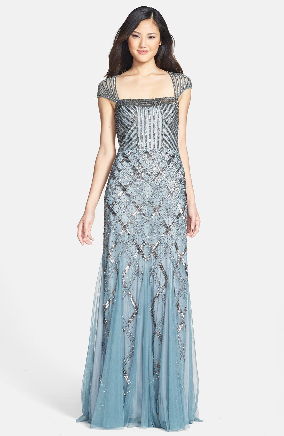 ADRIANNA PAPELL,                             Embellished Mesh Mermaid Gown,                             Main thumbnail 1, color,                             030
