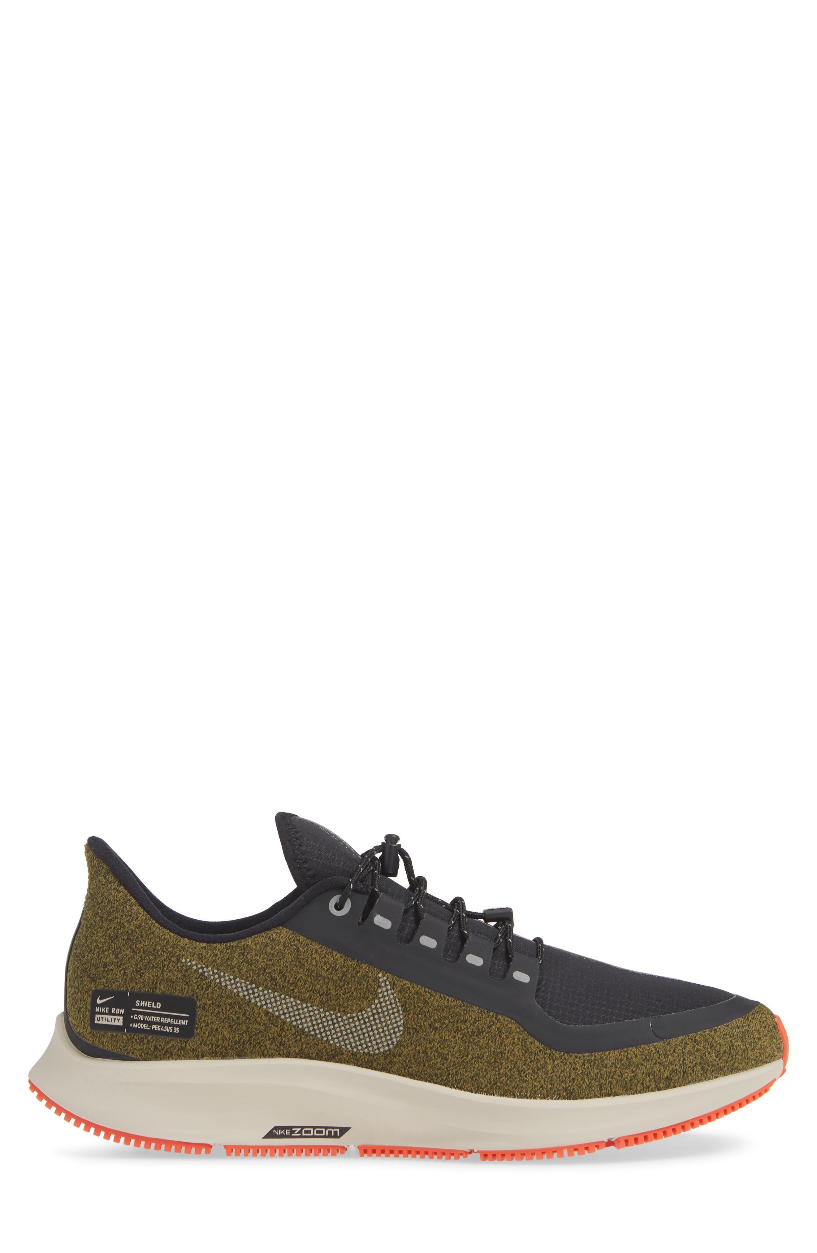 Air Zoom Pegasus 35 Shield Water Repellent Running Shoe,                             Alternate thumbnail 3, color,                             OLIVE/ METALLIC SILVER/ BLACK