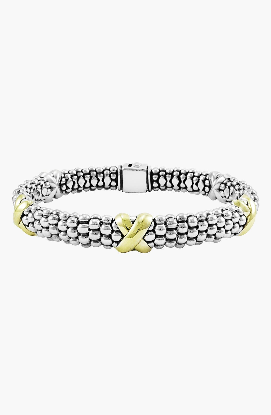 'X' Two-Tone Rope Bracelet,                             Alternate thumbnail 3, color,                             STERLING SILVER/ GOLD
