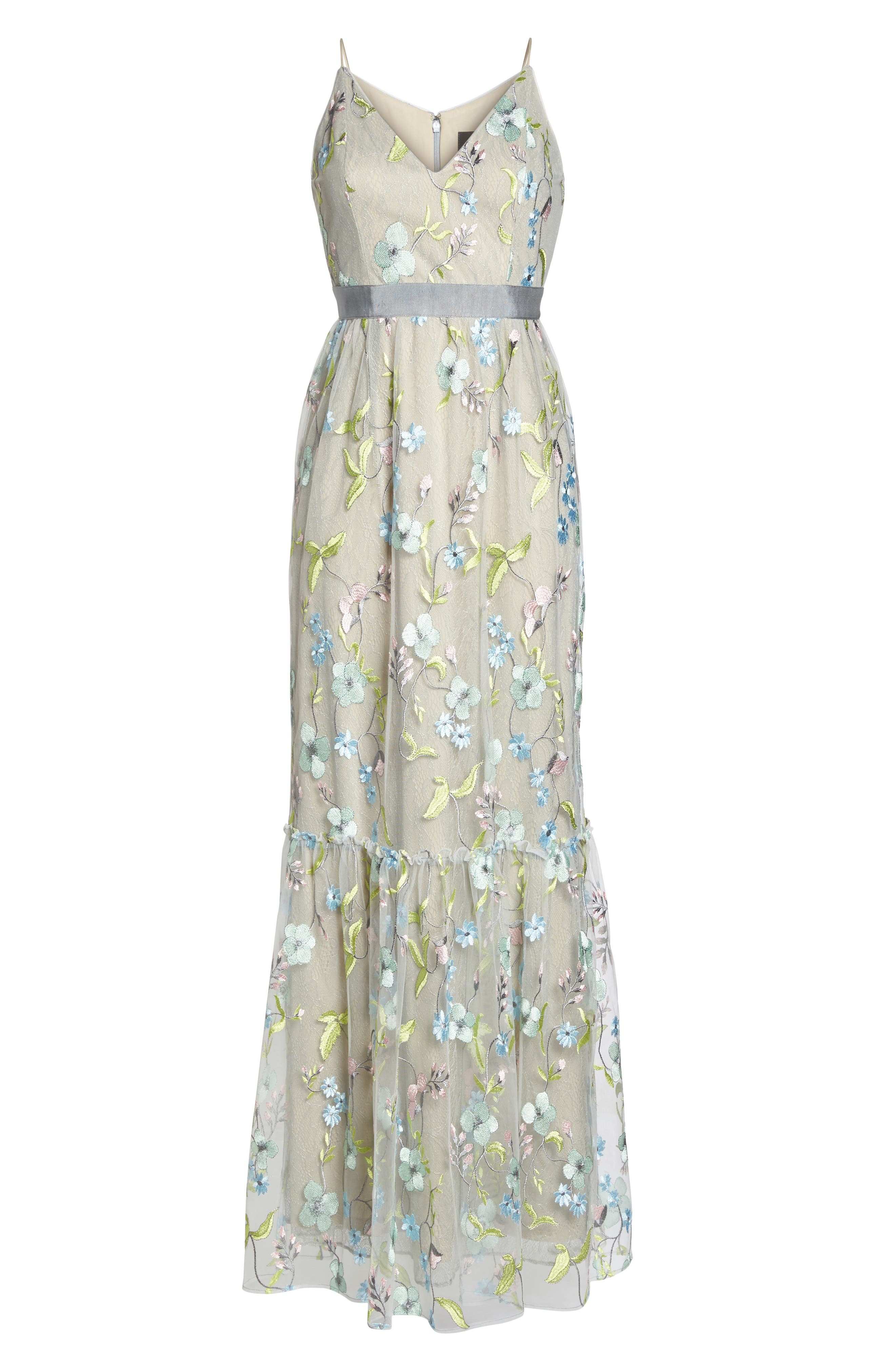 Embroidered Gown,                             Alternate thumbnail 6, color,                             320