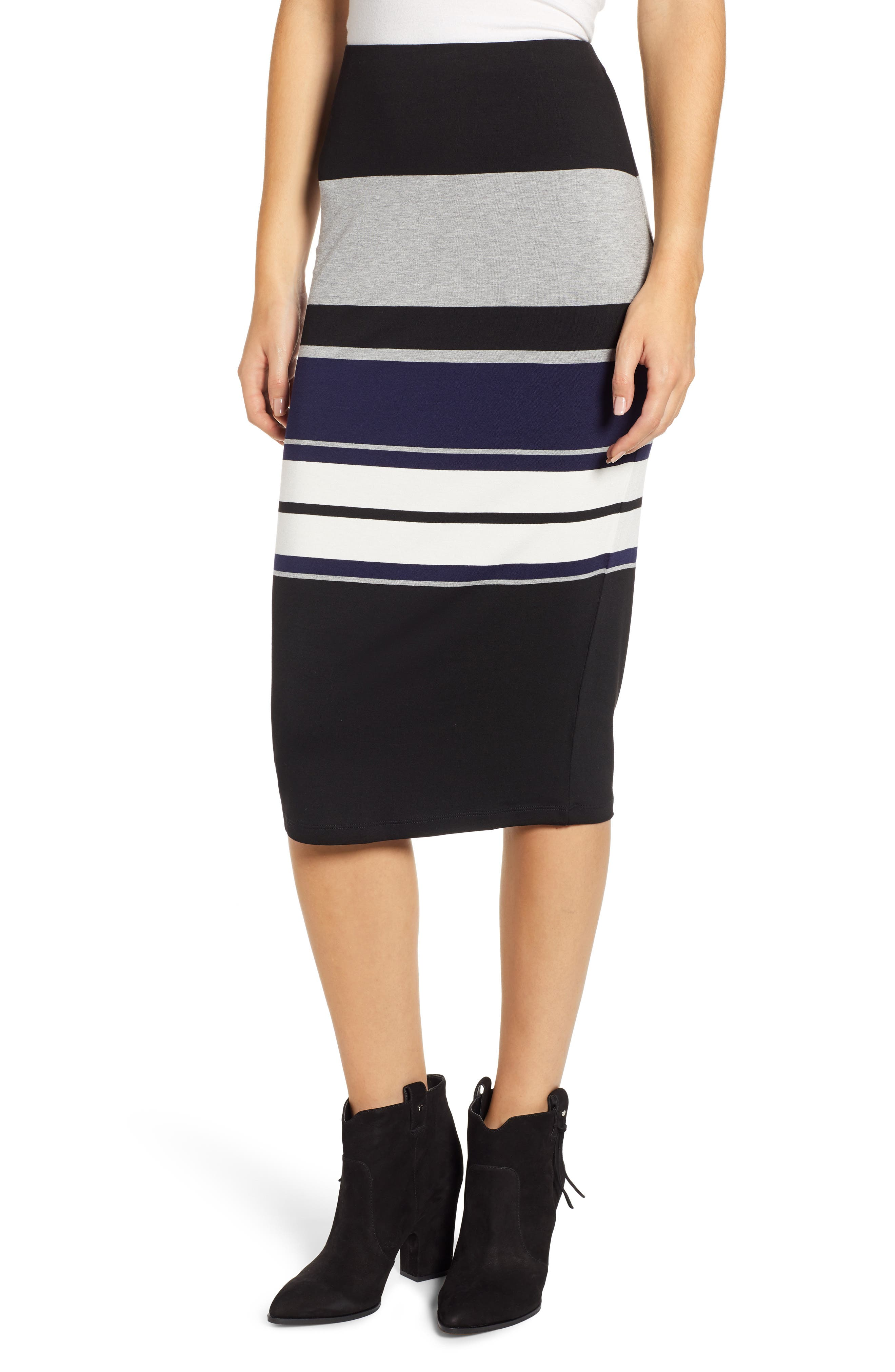 Placement Stripe Midi Skirt,                         Main,                         color, 001