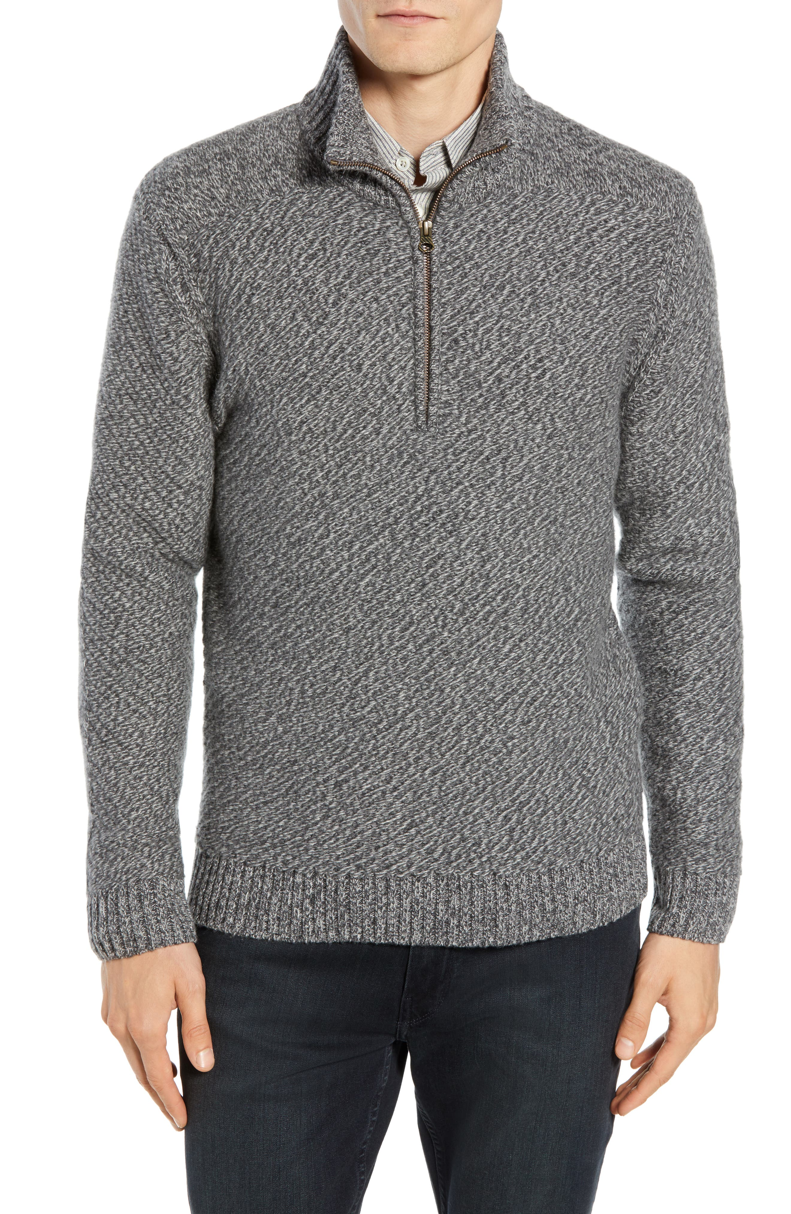 Cashmere Half Zip Sweater,                             Main thumbnail 1, color,                             CHARCOAL