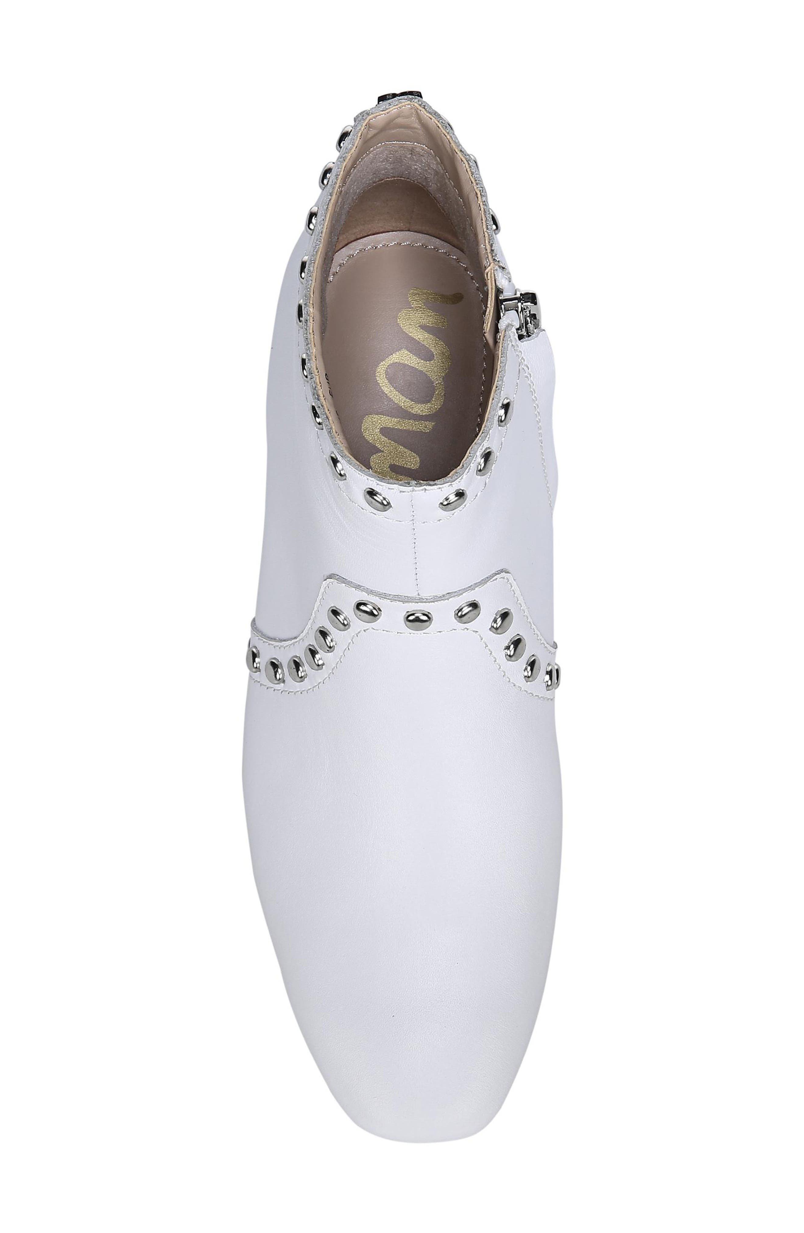 Lorin Studded Bootie,                             Alternate thumbnail 5, color,                             WHITE LEATHER