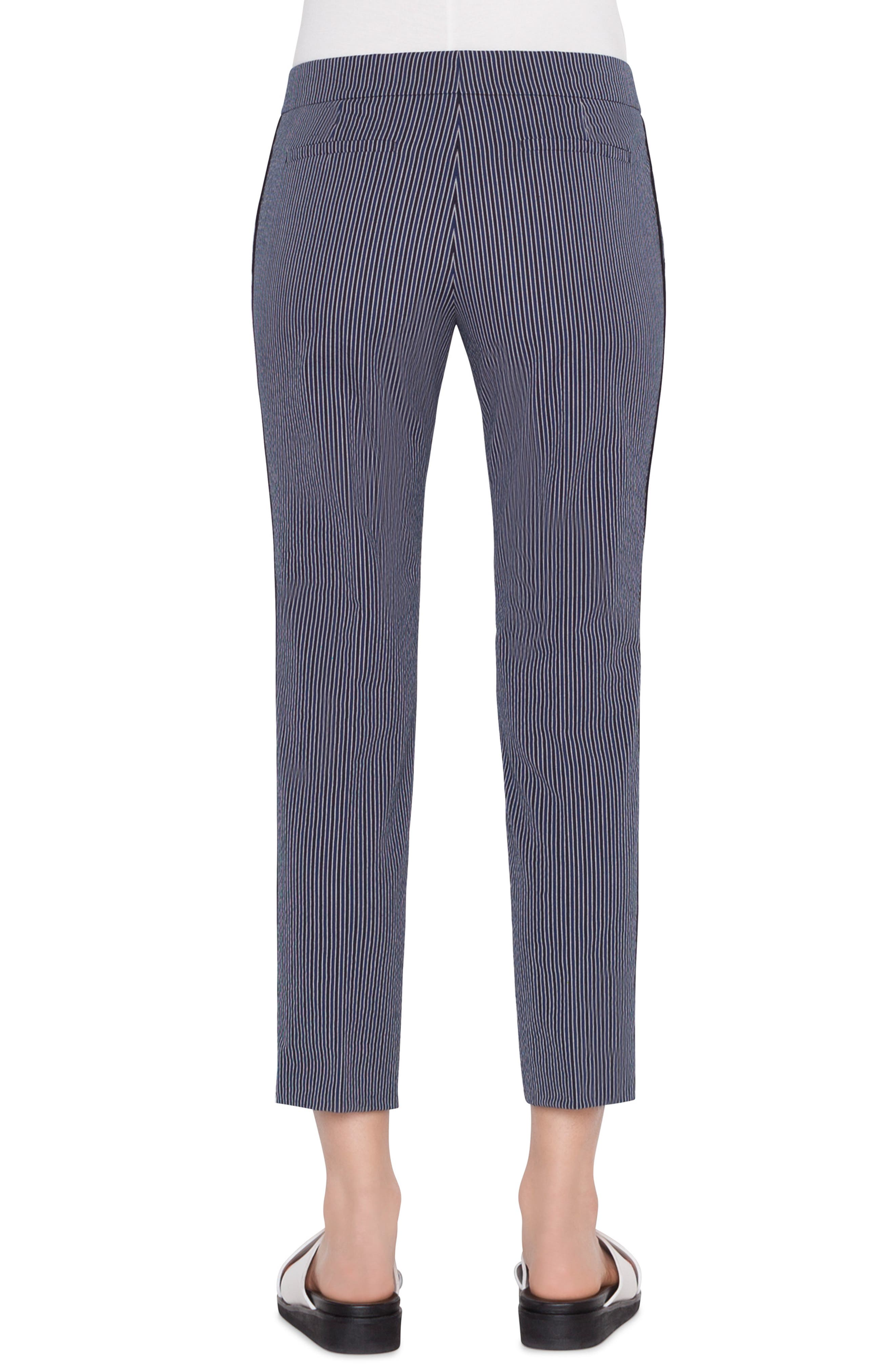 Frankie Piped Stretch Cotton Stripe Pants,                             Alternate thumbnail 2, color,                             BLUE SCURO-CREMA