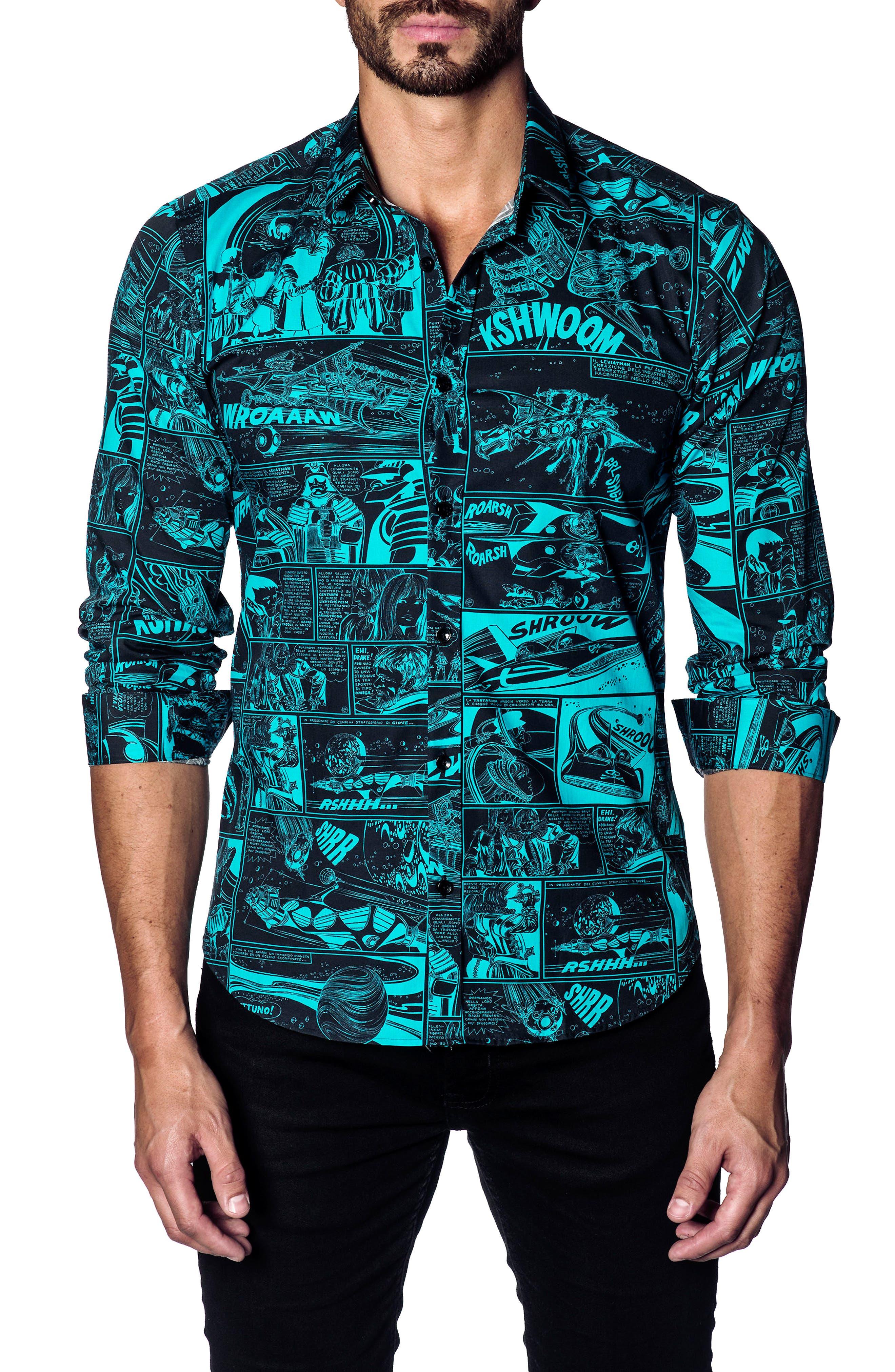 Trim Fit Sport Shirt,                         Main,                         color, BLACK / TURQUOISE