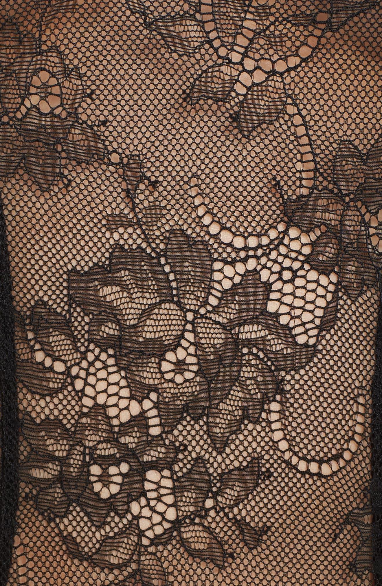 Lana Bell Sleeve Lace Thong Bodysuit,                             Alternate thumbnail 5, color,                             BLACK