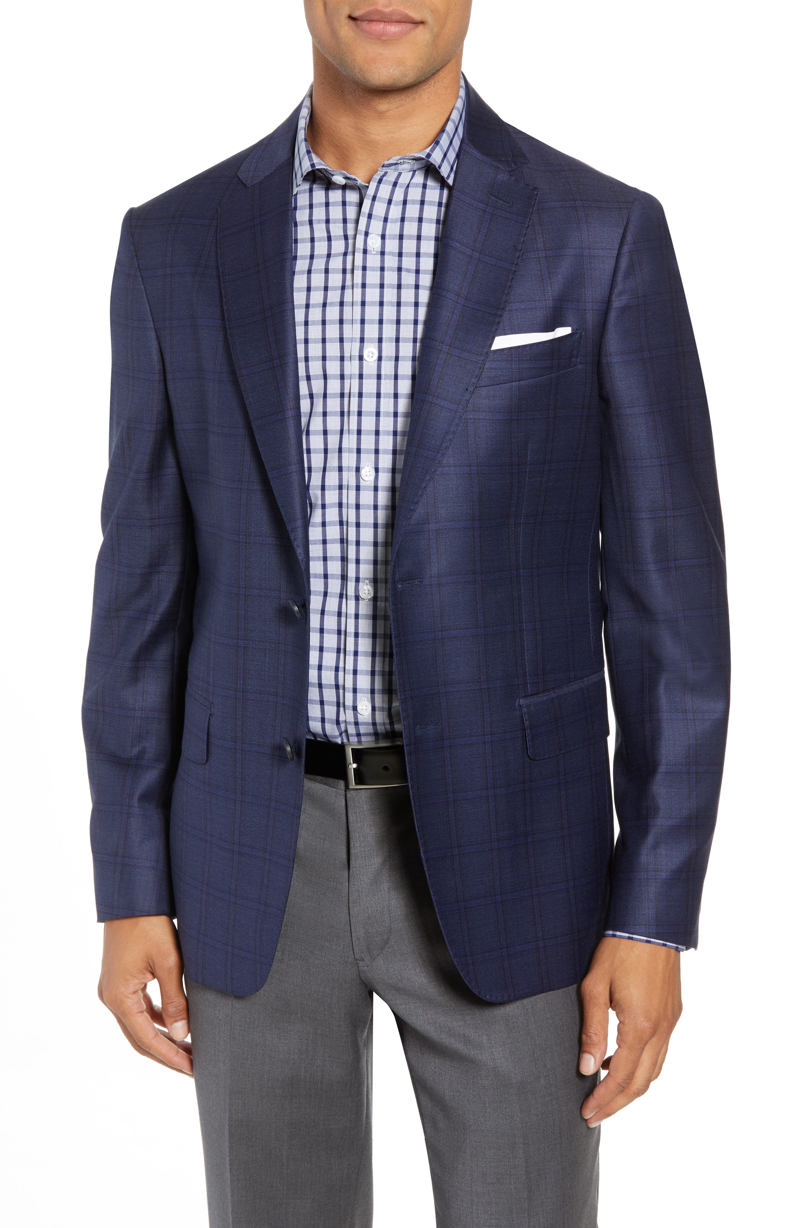 JOHN W. NORDSTROM<SUP>®</SUP> Traditional Fit Plaid Wool Sport Coat, Main, color, 420