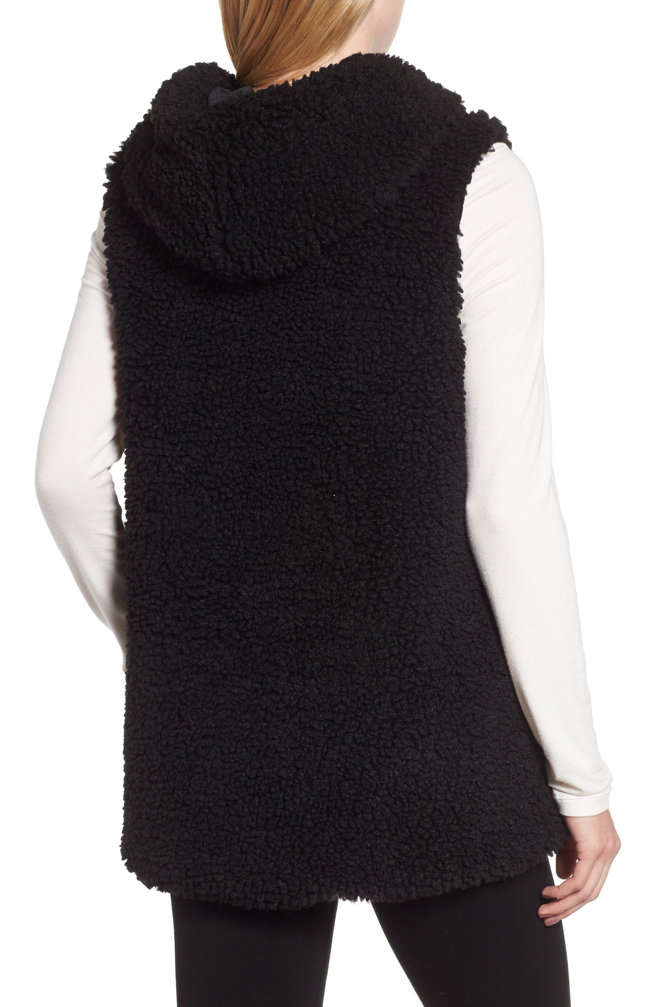 Faux Shearling Hooded Vest,                             Alternate thumbnail 2, color,                             BLACK